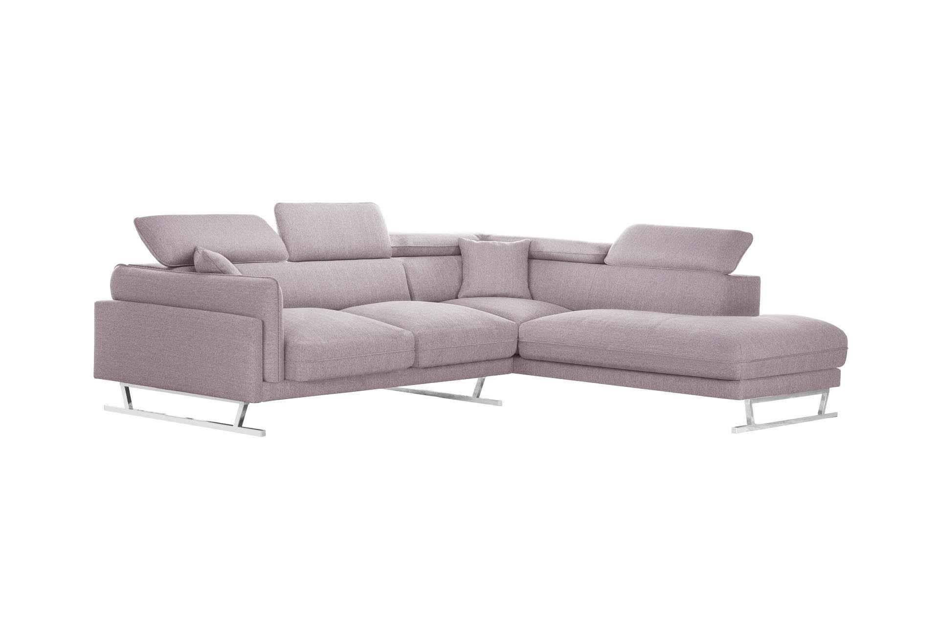 Canapé d'angle 6 places Rose Tissu Luxe Design Confort