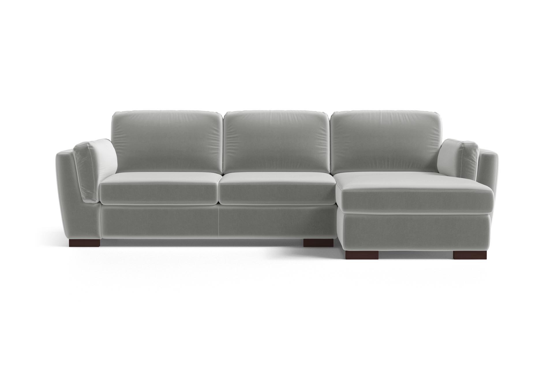Canapé d'angle 4 places Gris Velours Luxe Design