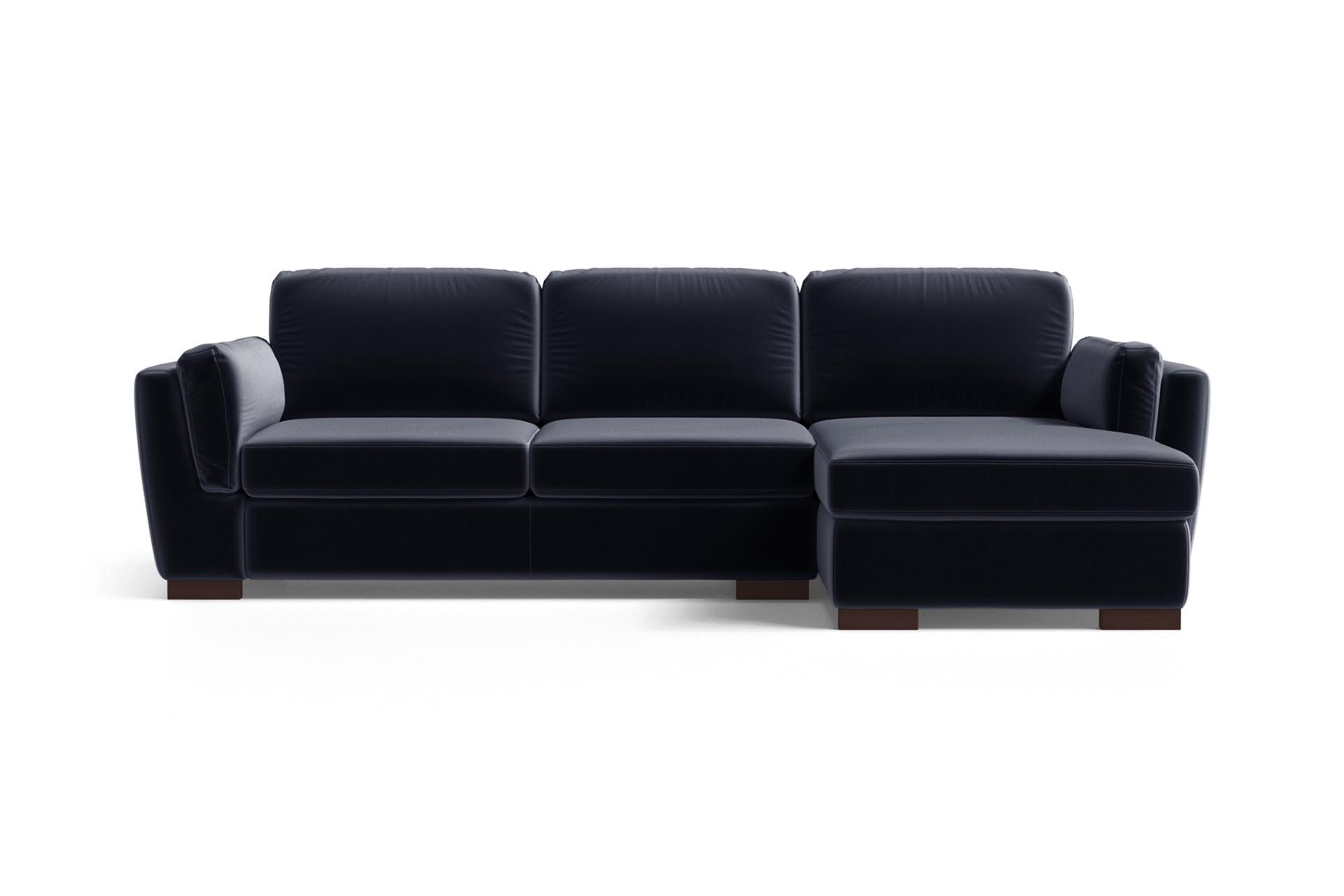 Canapé d'angle droit 4 places en velours bleu marine