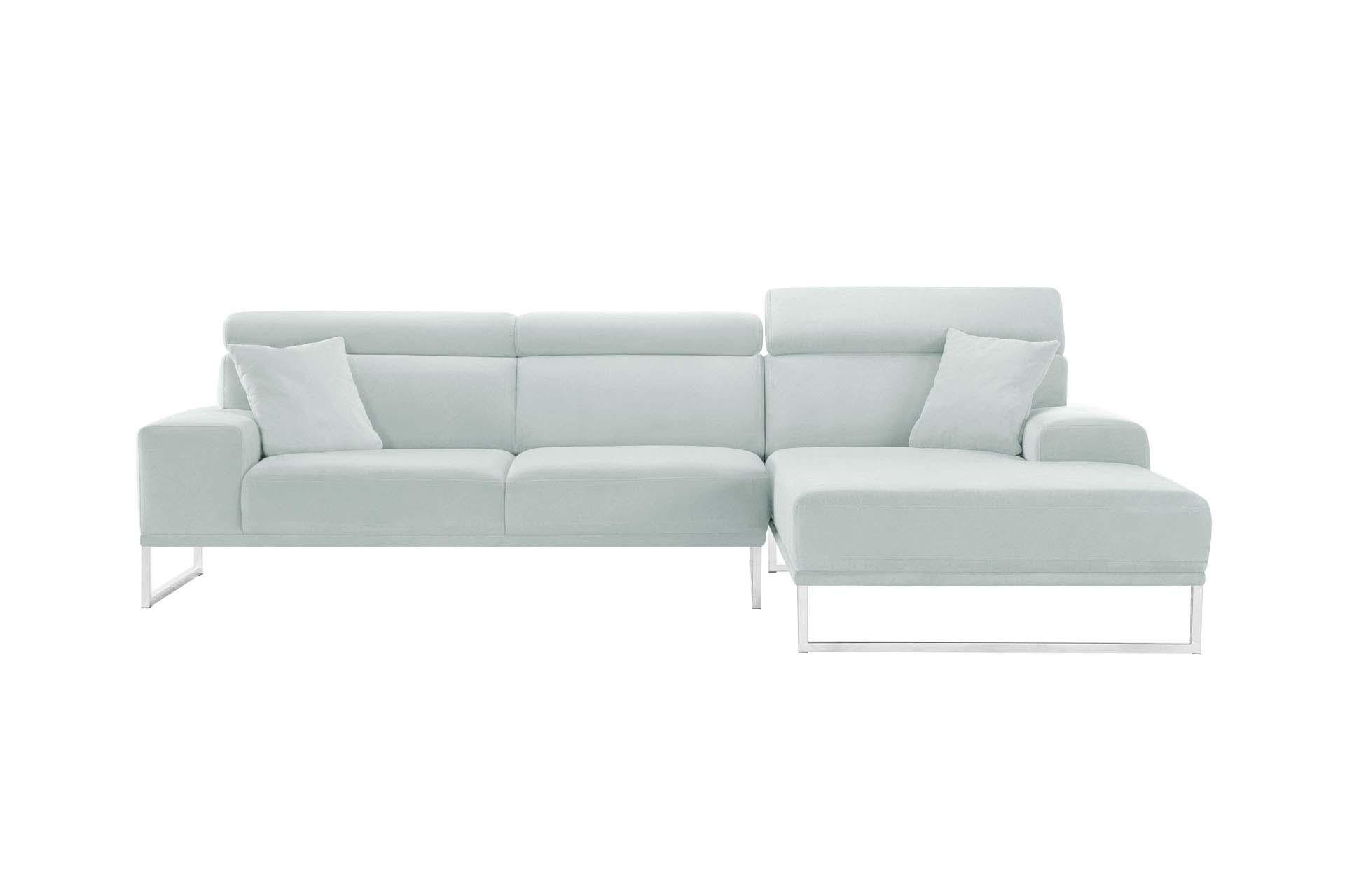Canapé d'angle droit 5 places en velours gris pastel