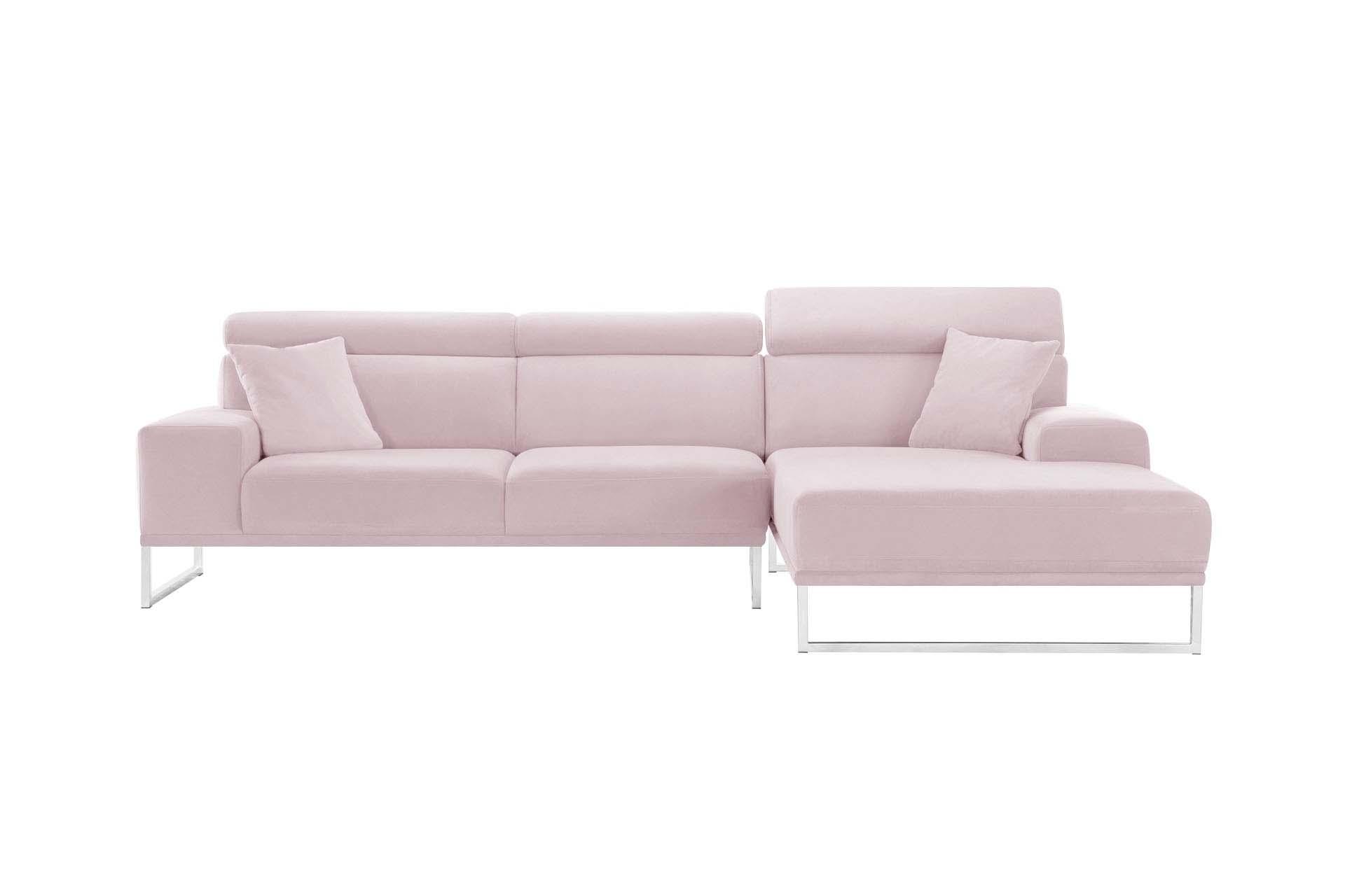 Canapé d'angle droit 5 places en velours rose pastel
