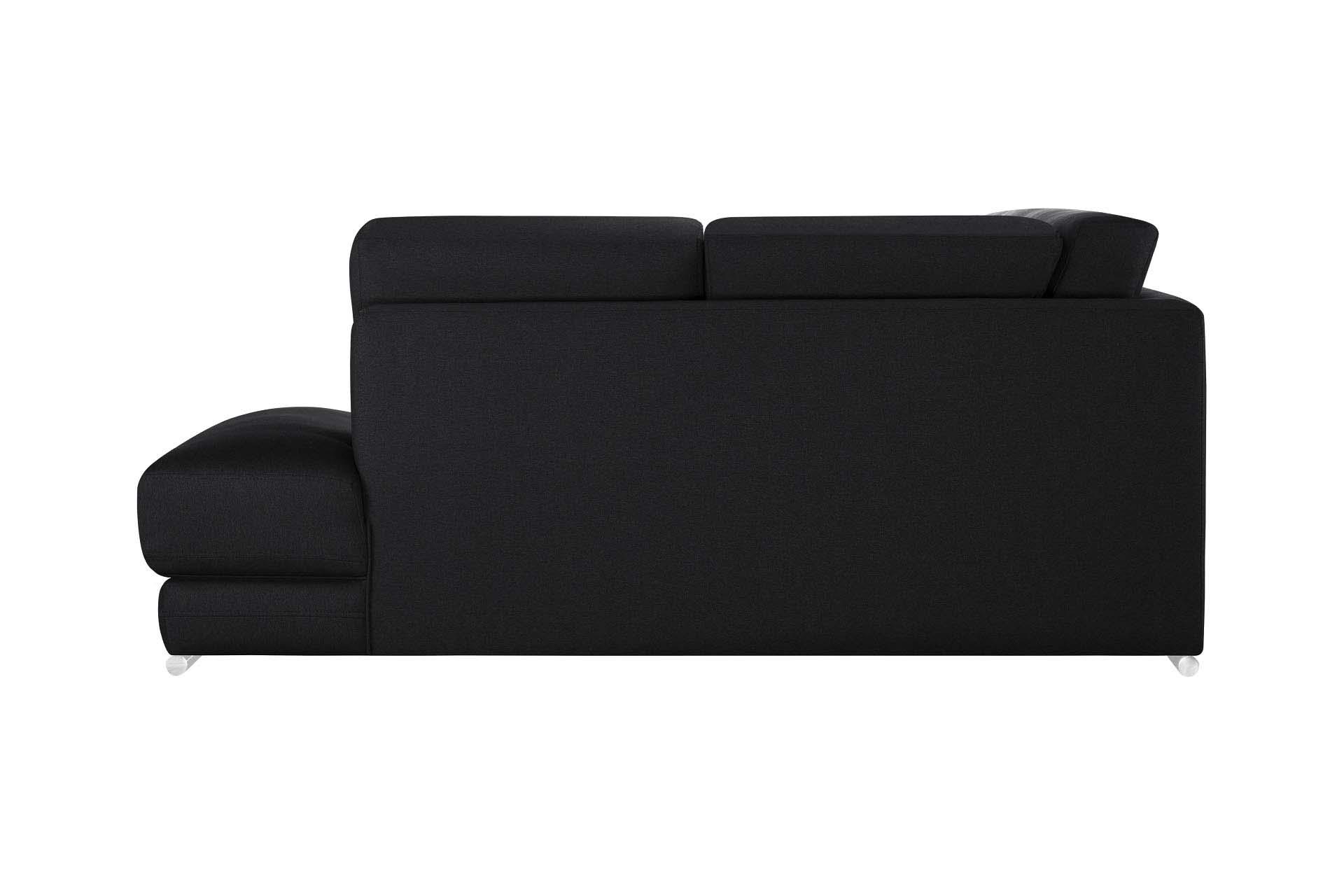 Canapé d'angle droit 5 places toucher lin noir