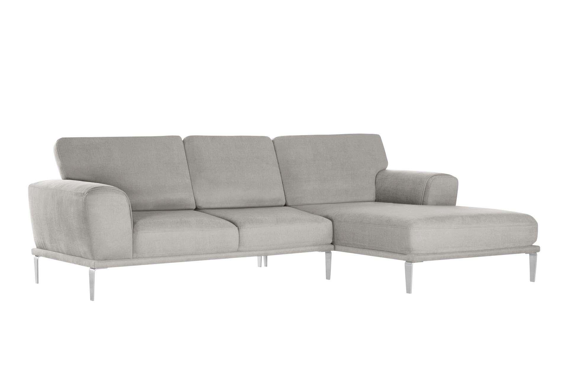 Canapé d'angle droit 5 places toucher coton gris clair