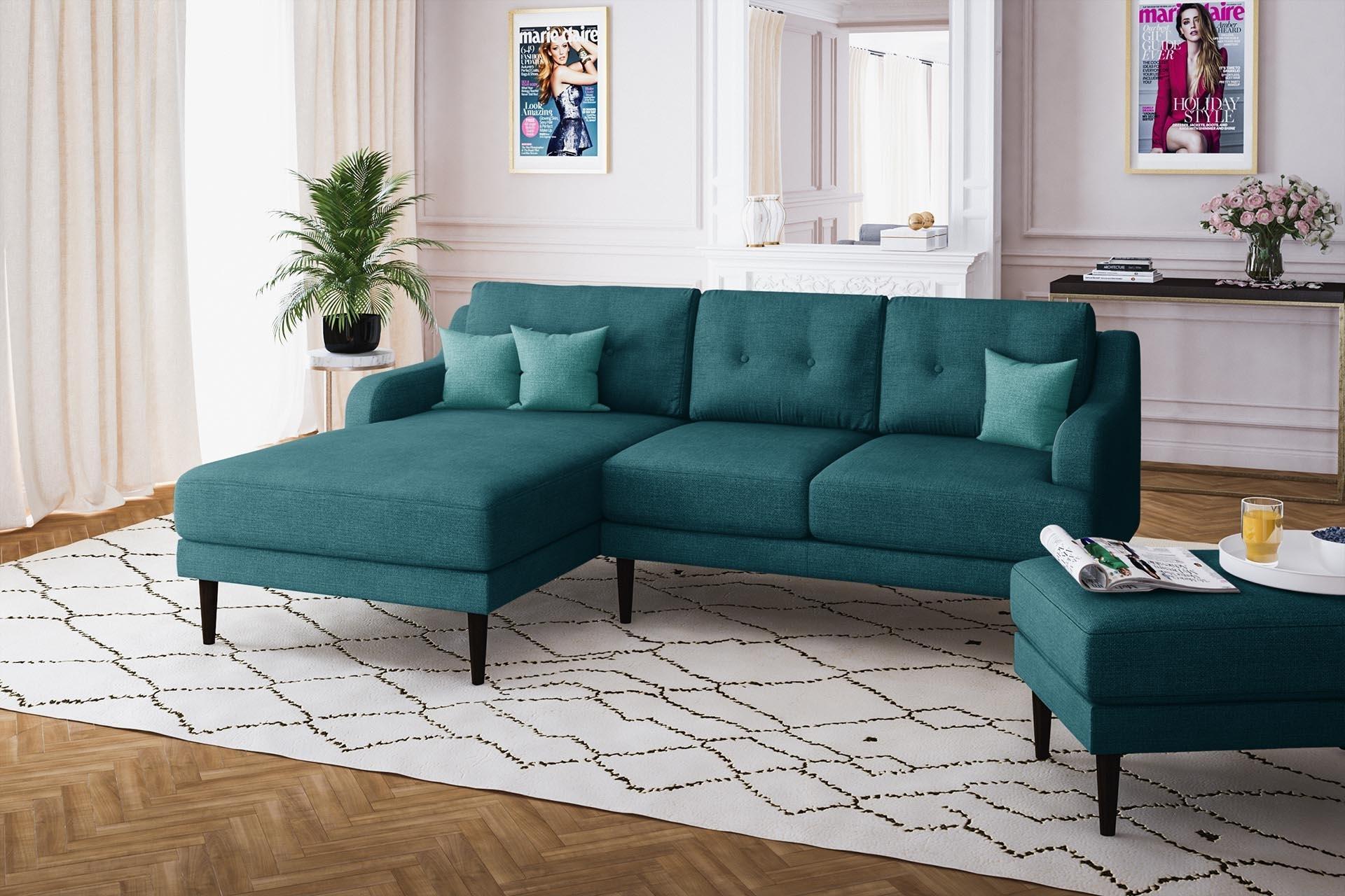 Canapé d'angle gauche 4 places toucher lin turquoise