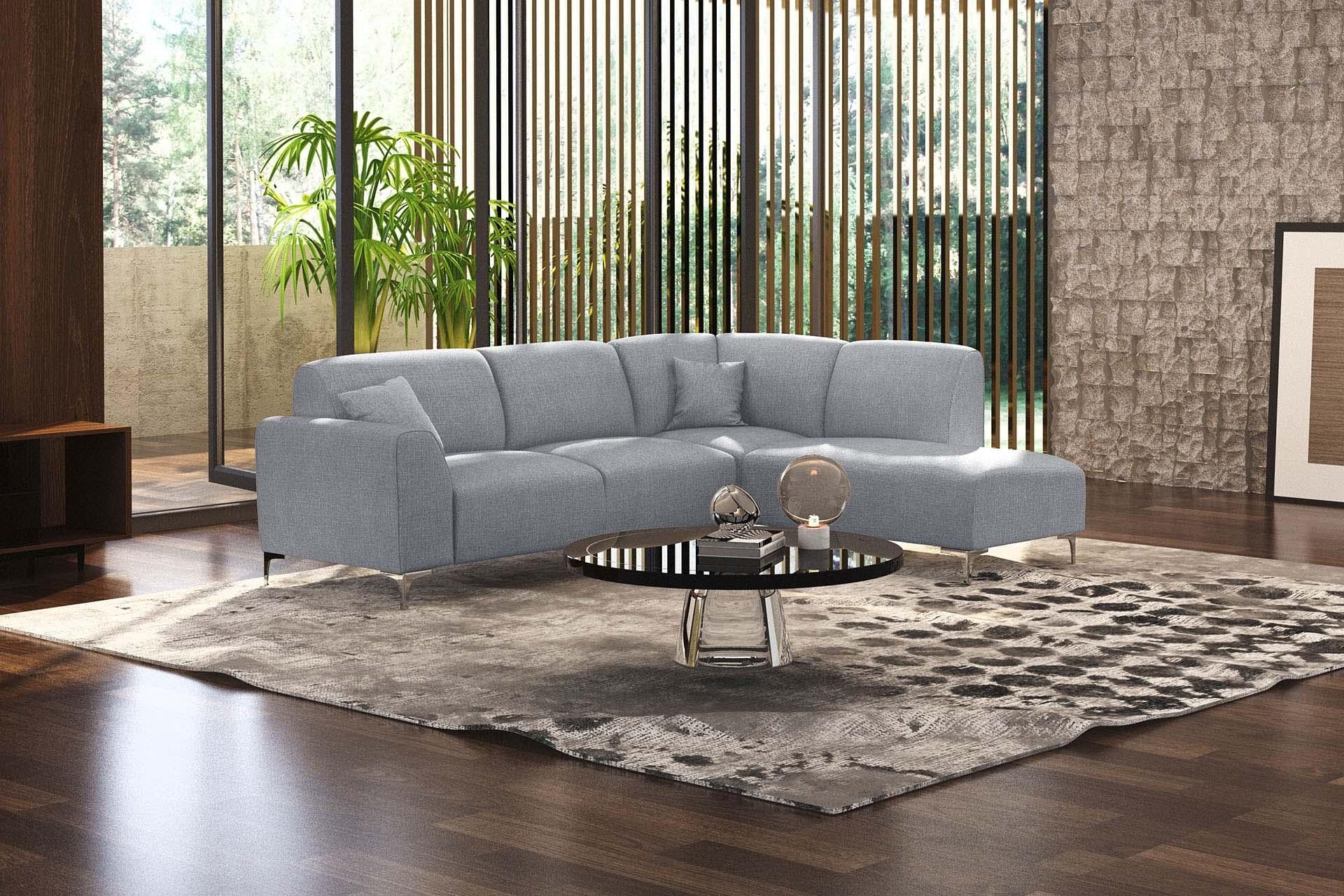 Canapé d'angle droit 5 places toucher lin gris