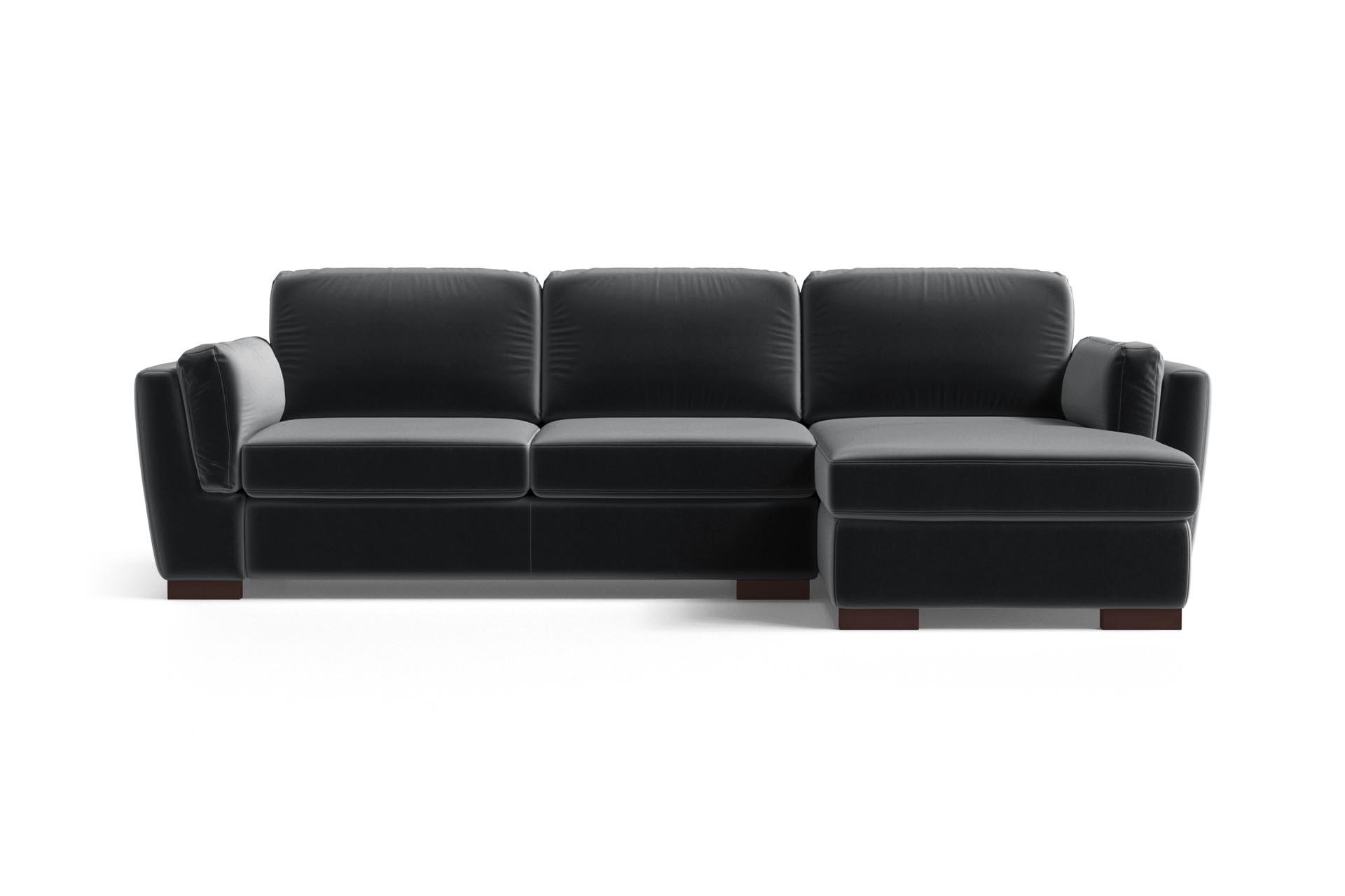 Canapé d'angle droit 4 places en velours anthracite