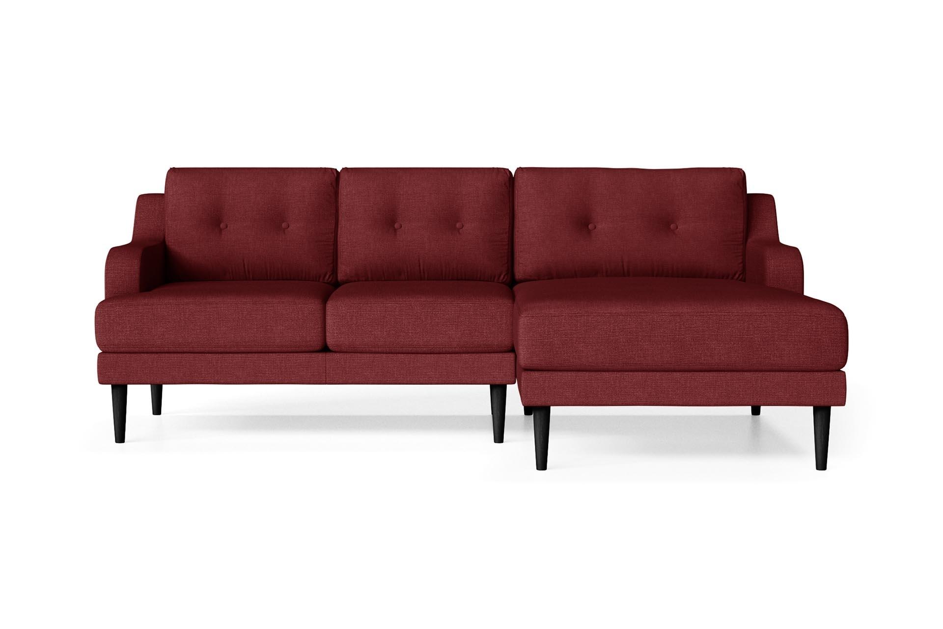 Canapé d'angle droit 4 places toucher lin rouge
