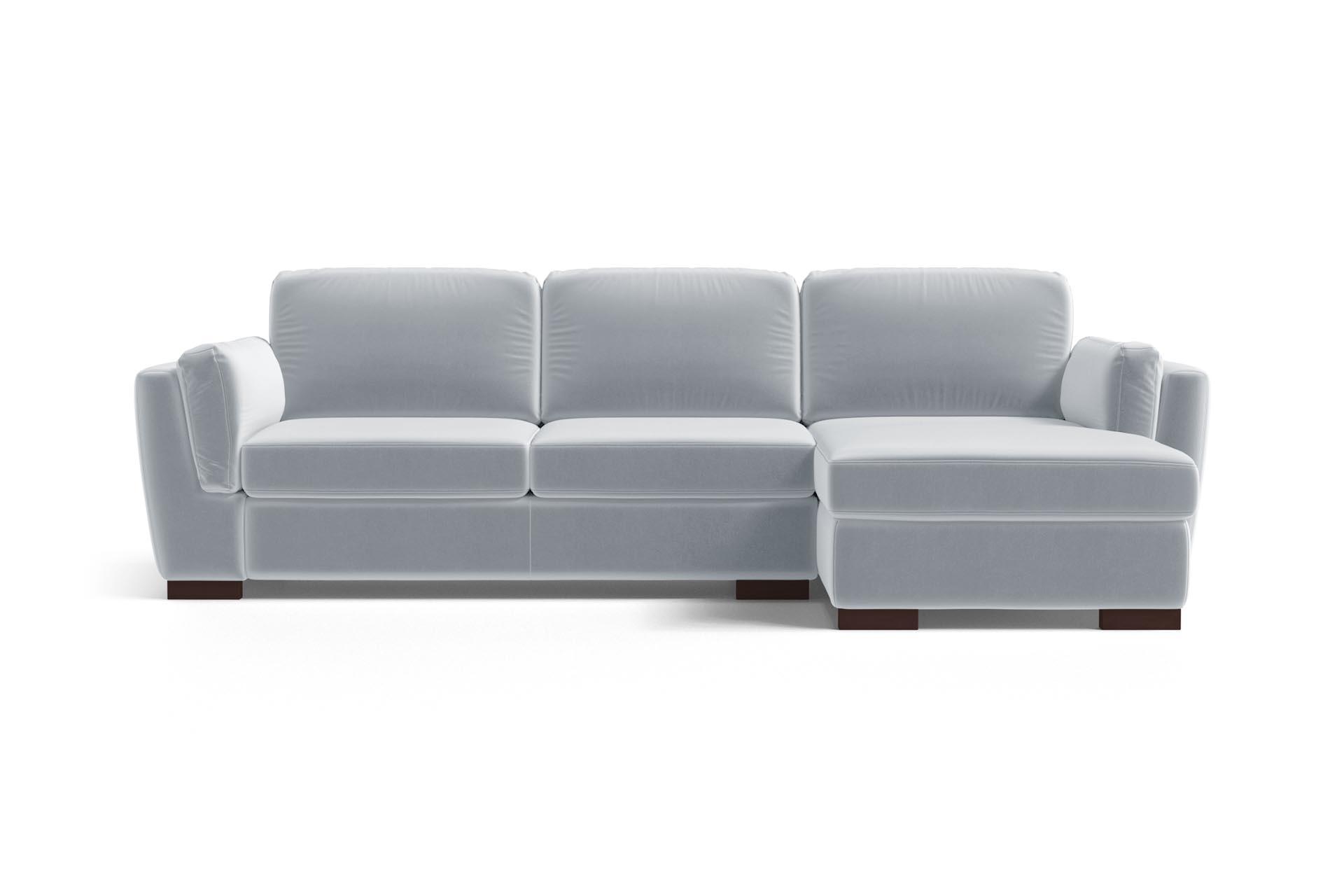 Canapé d'angle droit 4 places en velours bleu clair