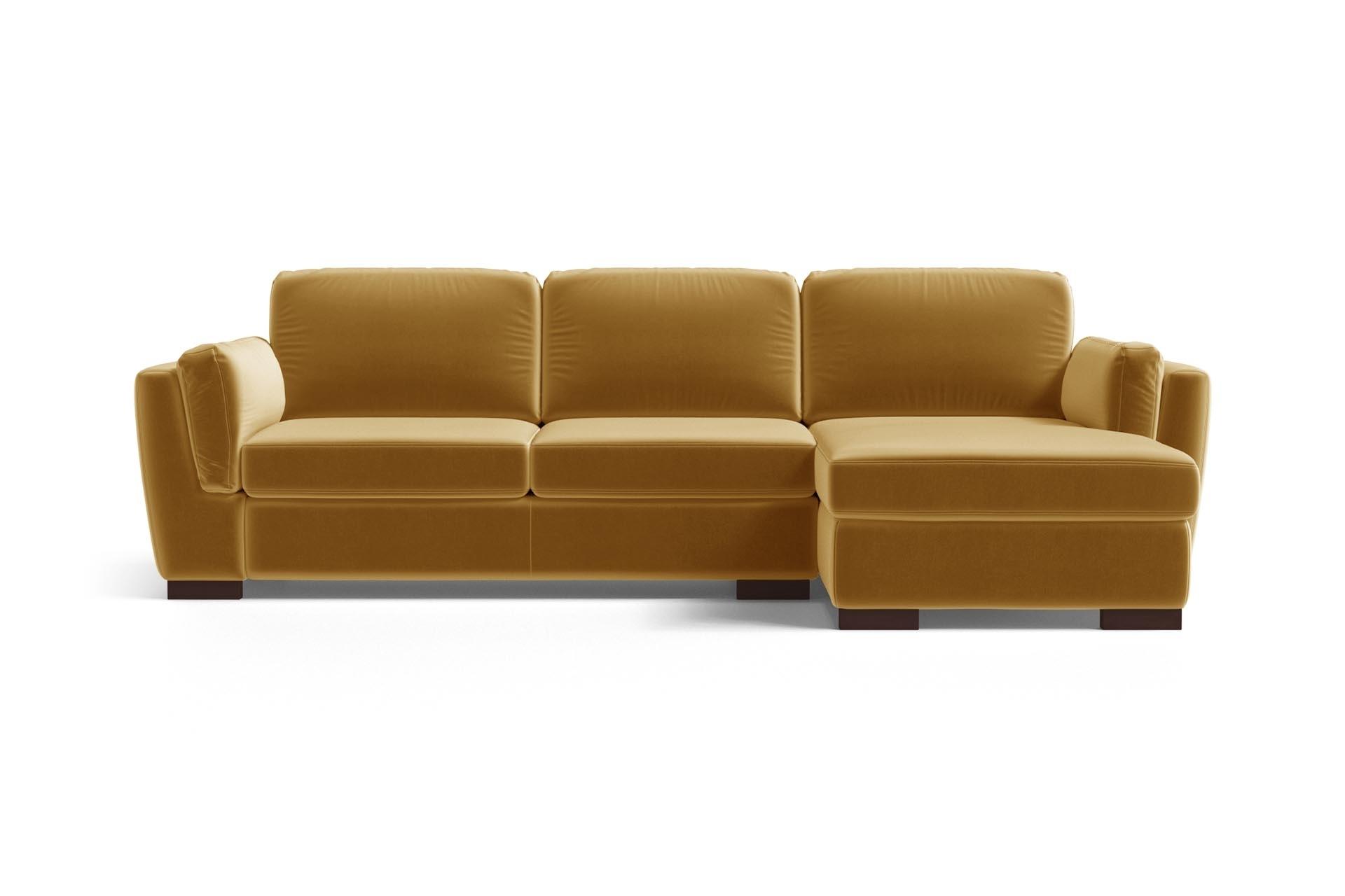 Canapé d'angle droit 4 places en velours moutarde