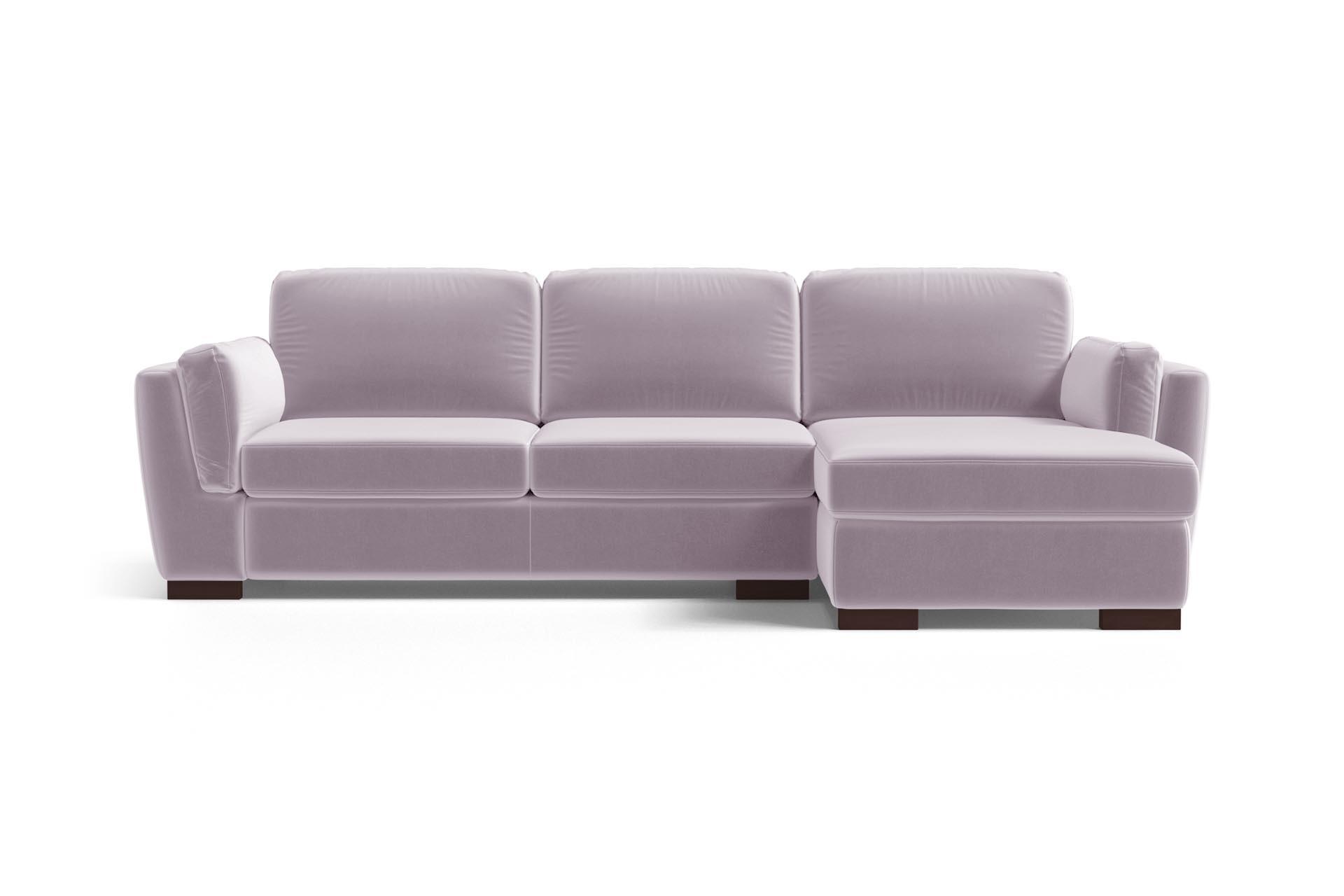 Canapé d'angle droit 4 places en velours lilas