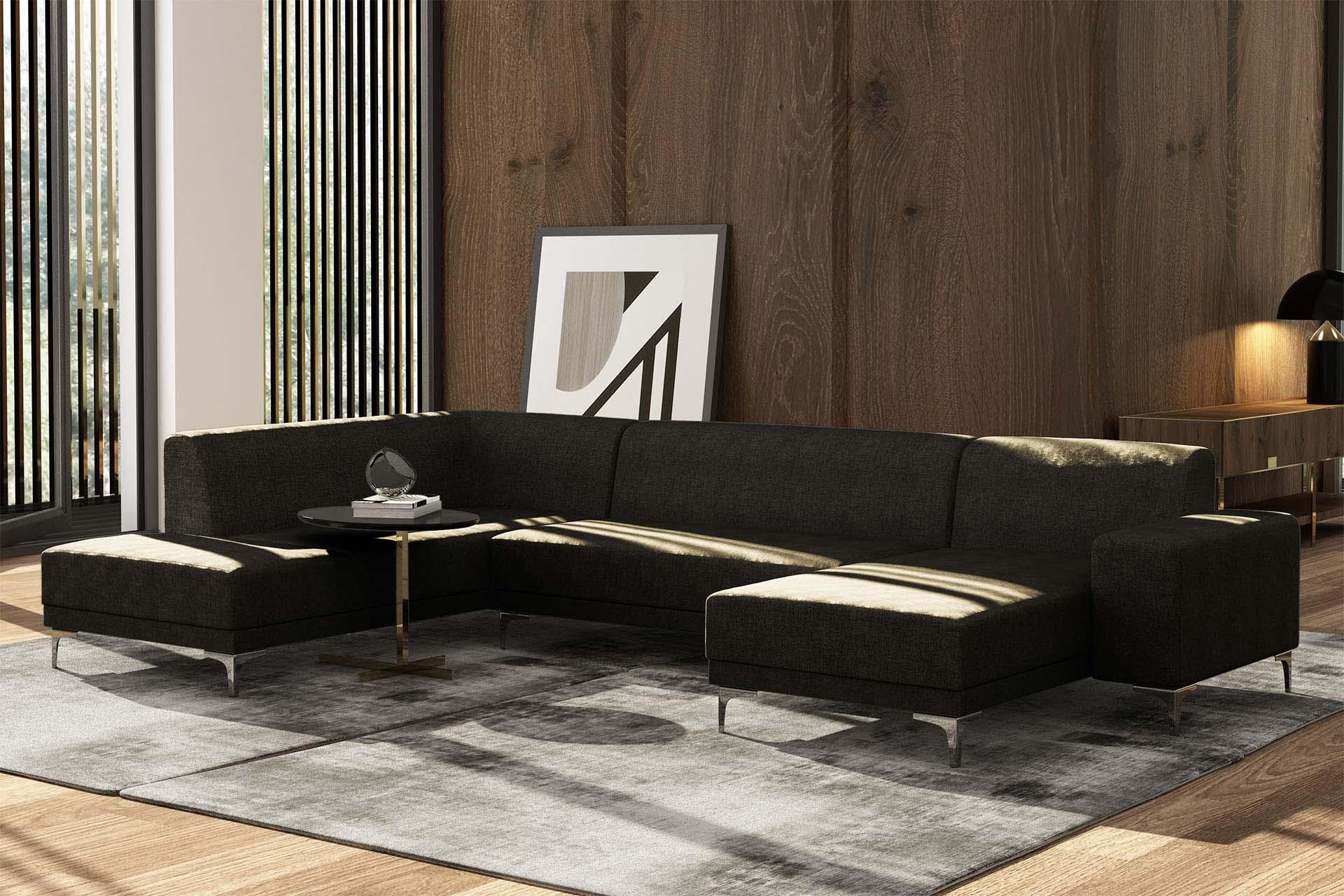 Canapé d'angle droit 6 places toucher lin anthracite