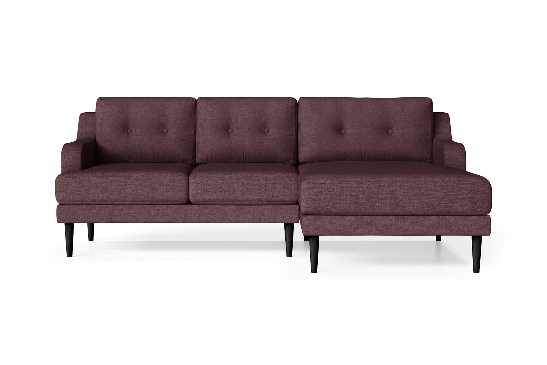 Canapé d'angle droit 4 places toucher lin prune