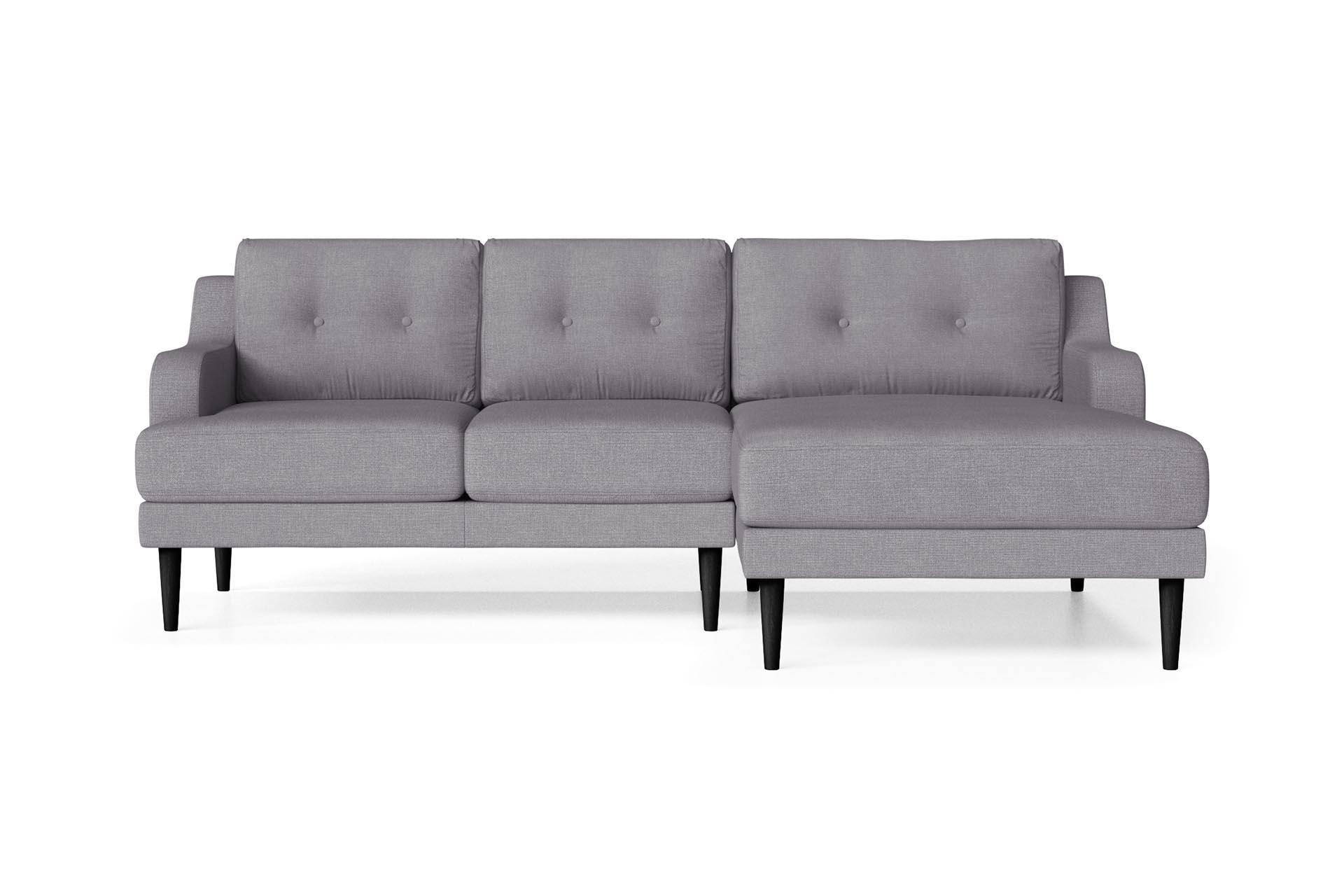 Canapé d'angle droit 4 places toucher lin gris
