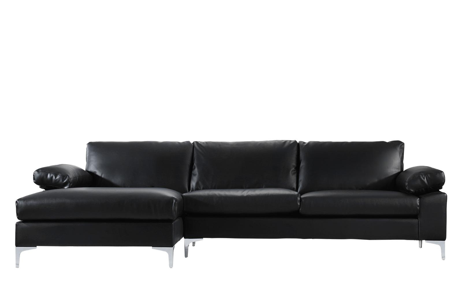 Canapé d'angle 5 places Noir Cuir Contemporain Confort