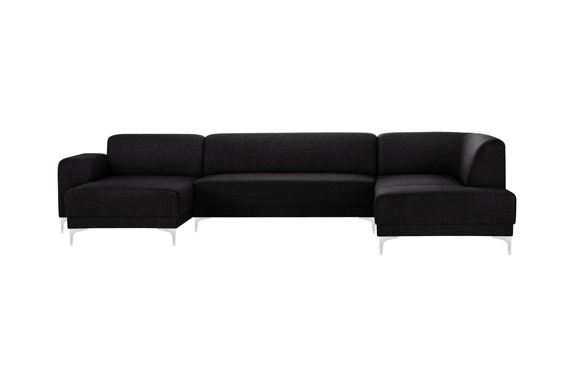 Canapé d'angle gauche 6 places toucher lin noir