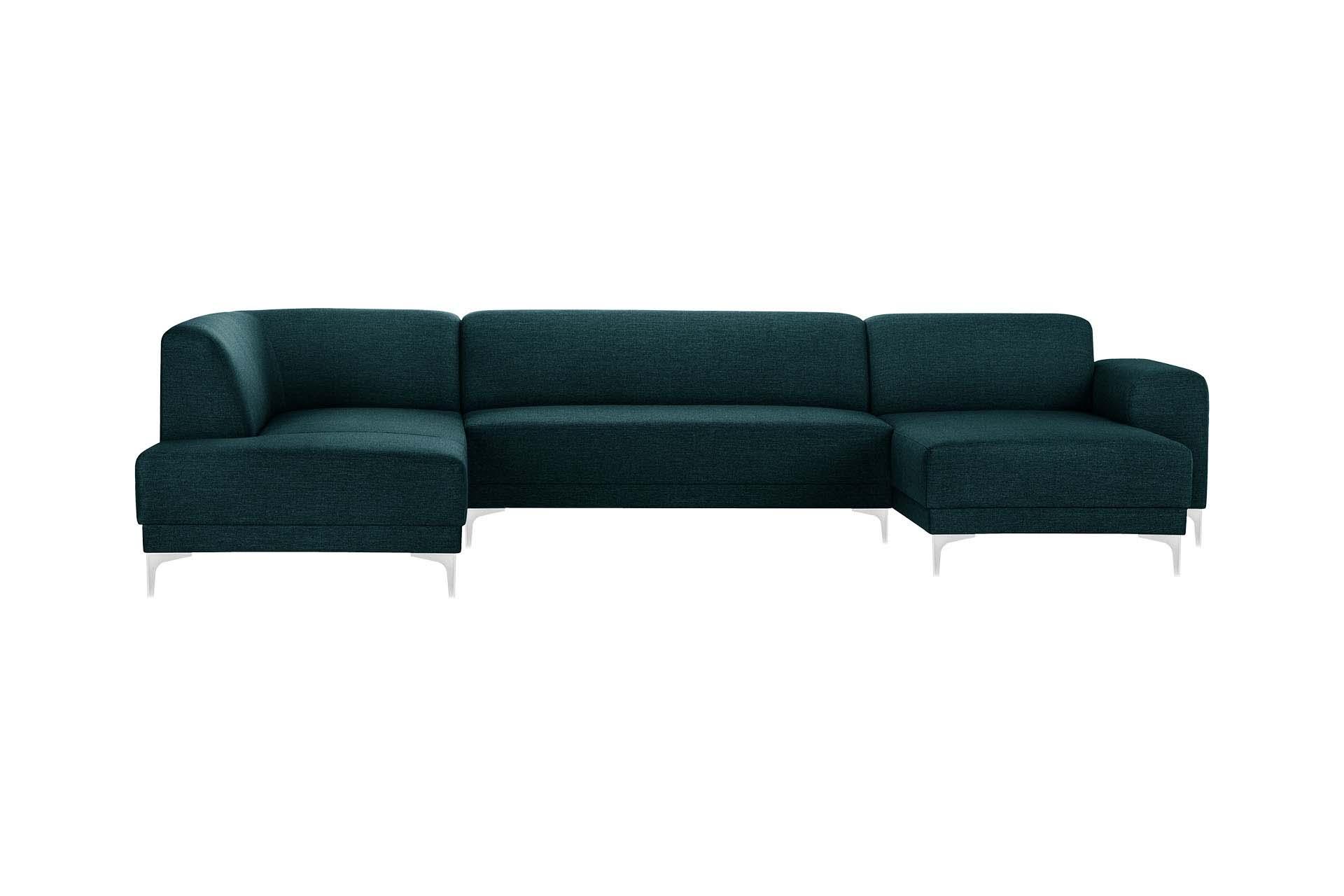 Canapé d'angle droit 6 places toucher lin turquoise