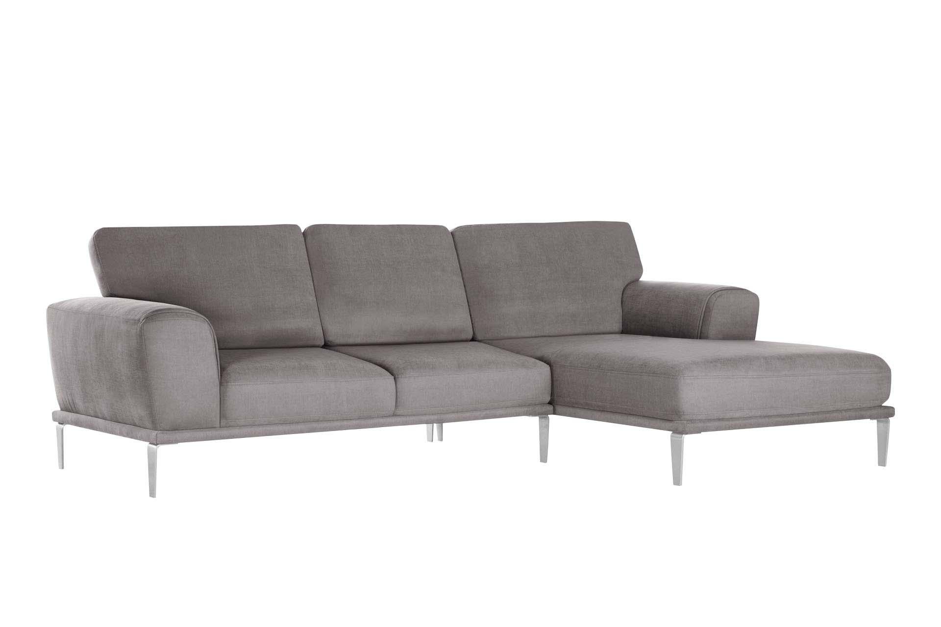 Canapé d'angle droit 5 places toucher coton marron cendré