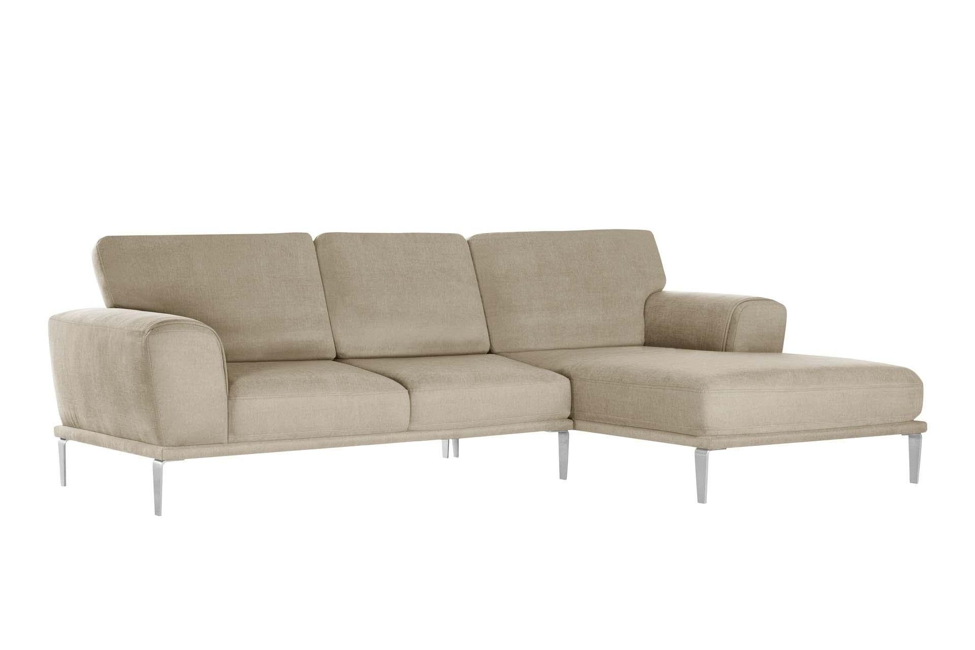 Canapé d'angle droit 5 places toucher coton beige