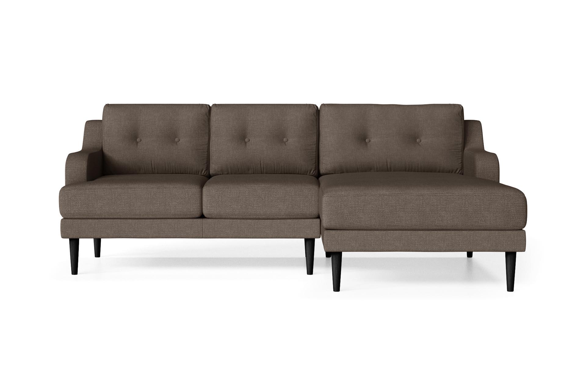 Canapé d'angle droit 4 places toucher lin marron