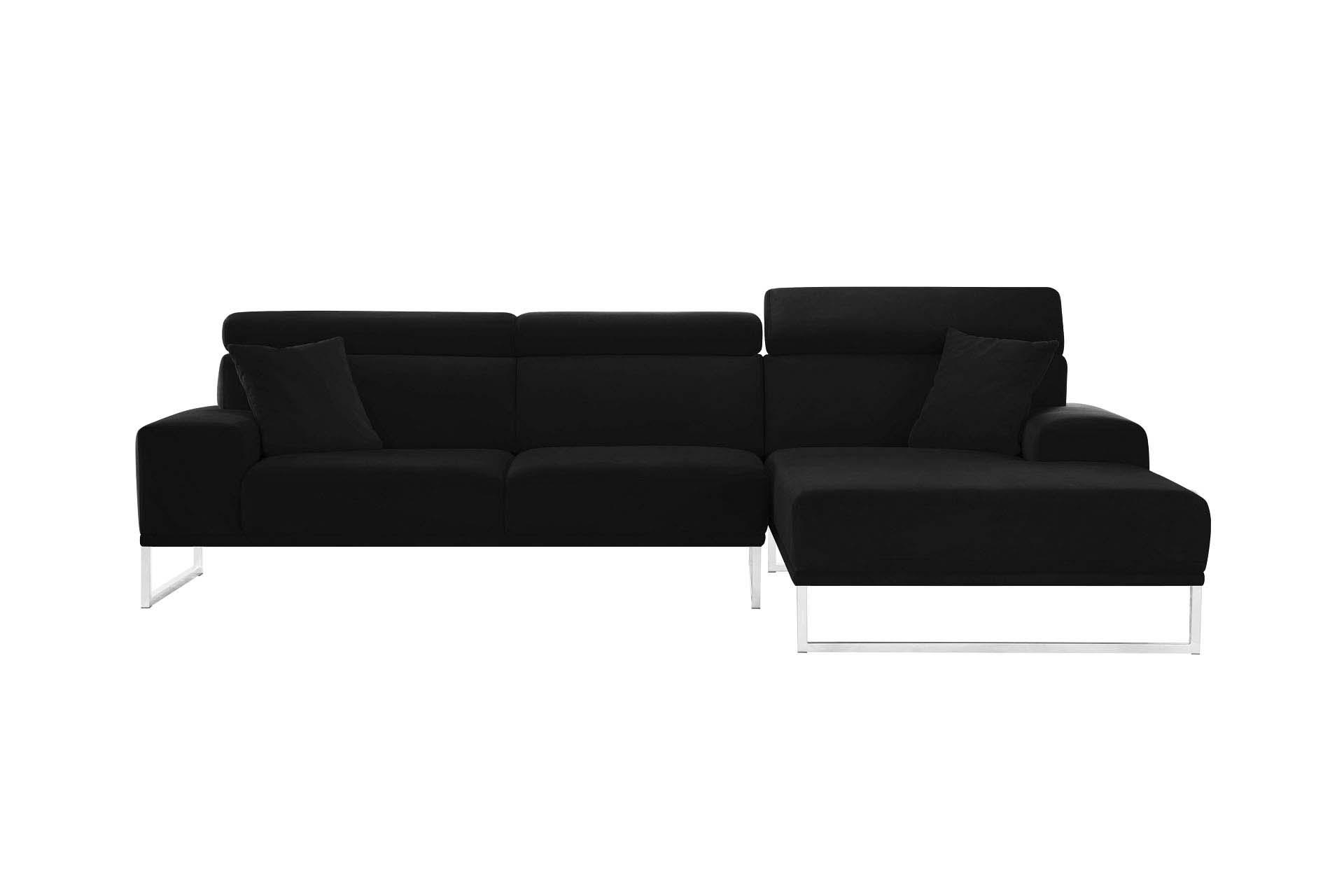 Canapé d'angle droit 5 places en velours noir