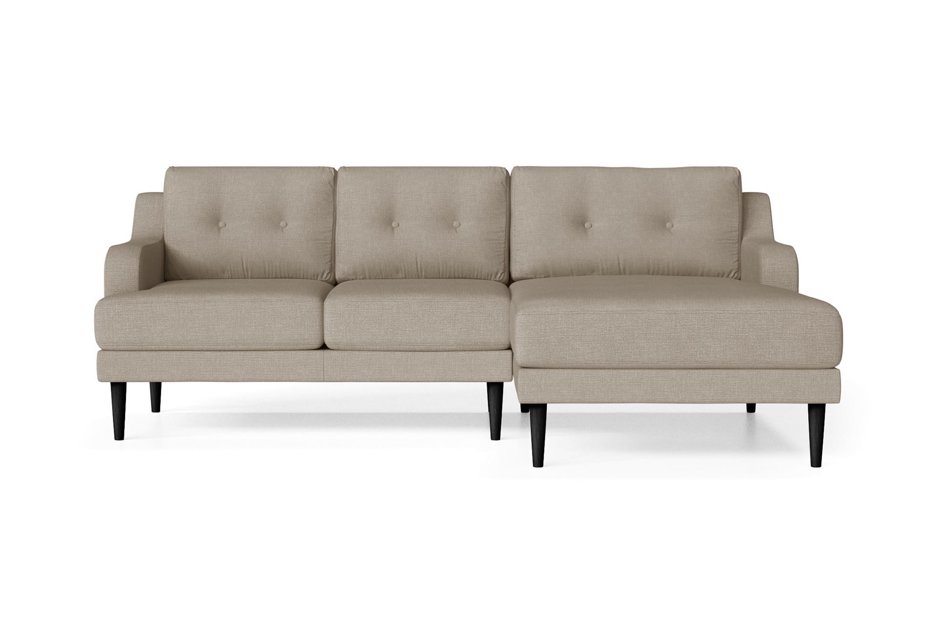 Canapé d'angle droit 4 places toucher lin taupe