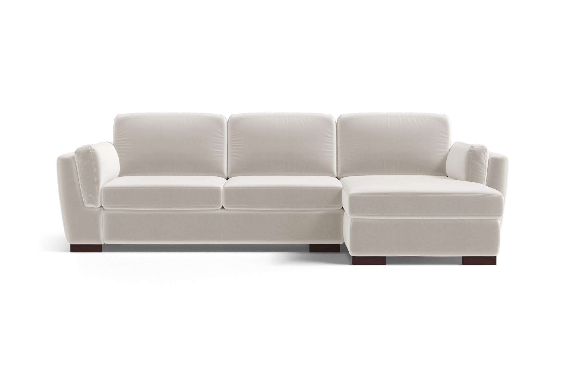 Canapé d'angle droit 4 places en velours blanc cassé