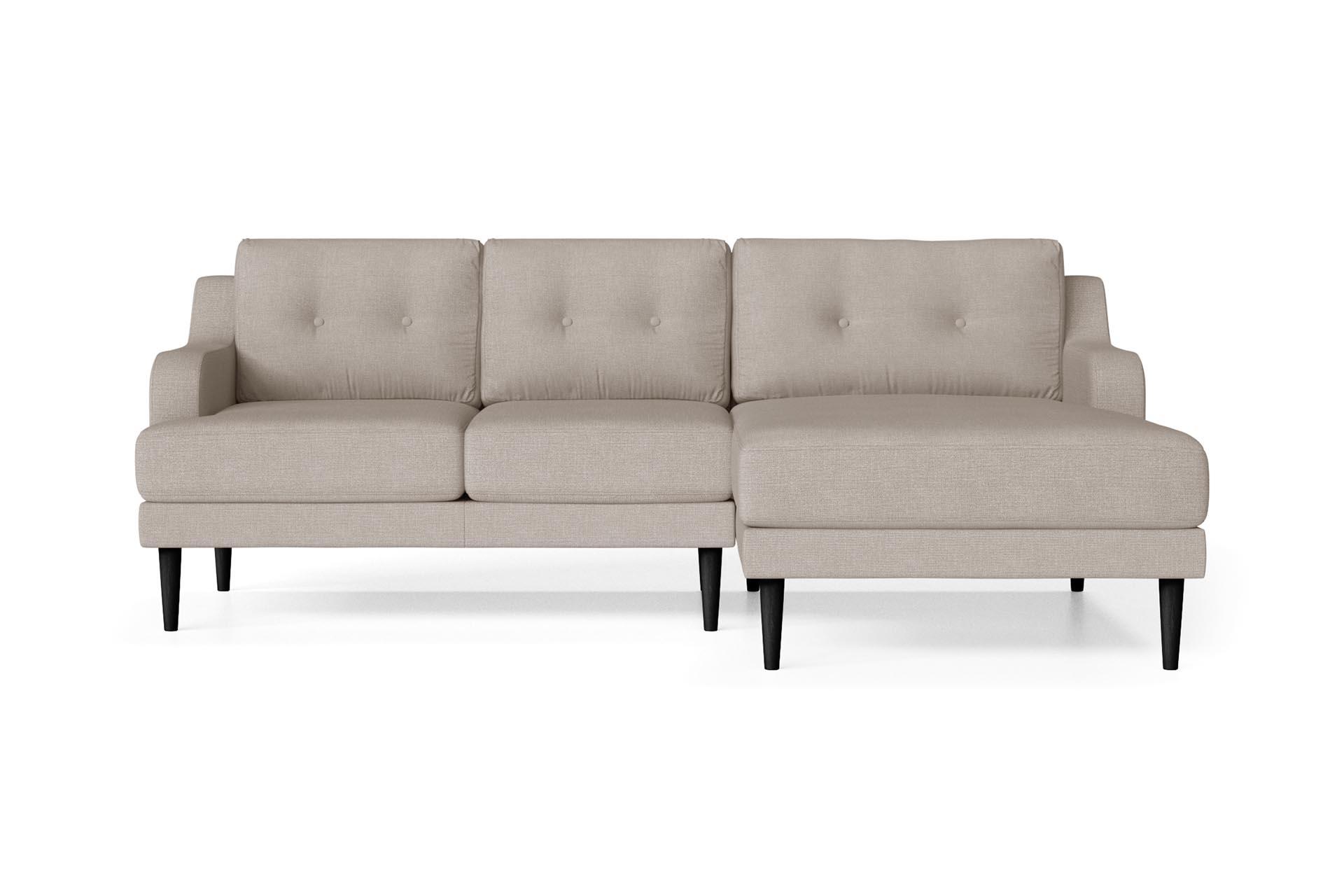 Canapé d'angle droit 4 places toucher lin crème
