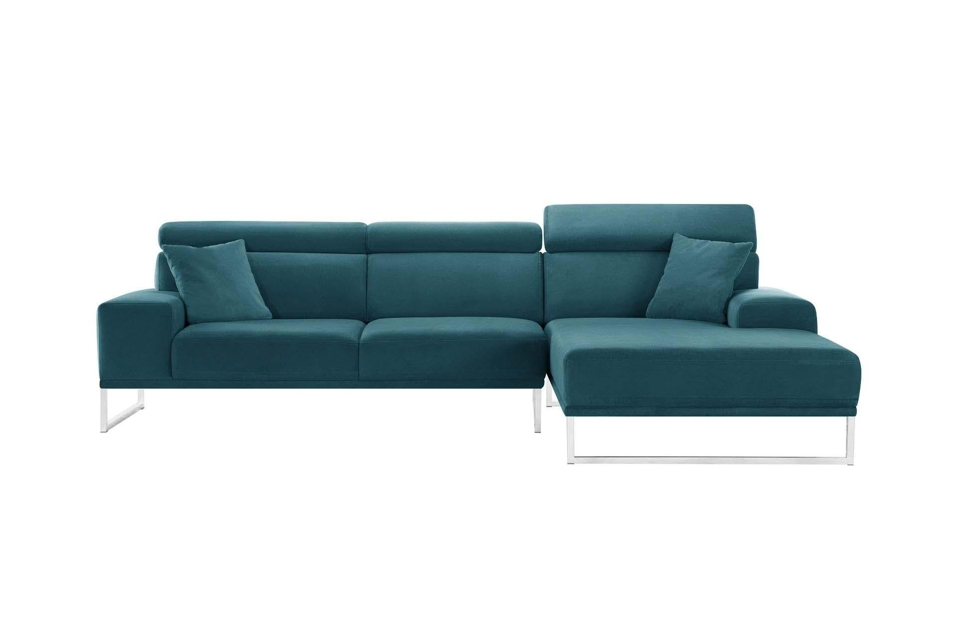 Canapé d'angle droit 5 places en velours bleu turquoise