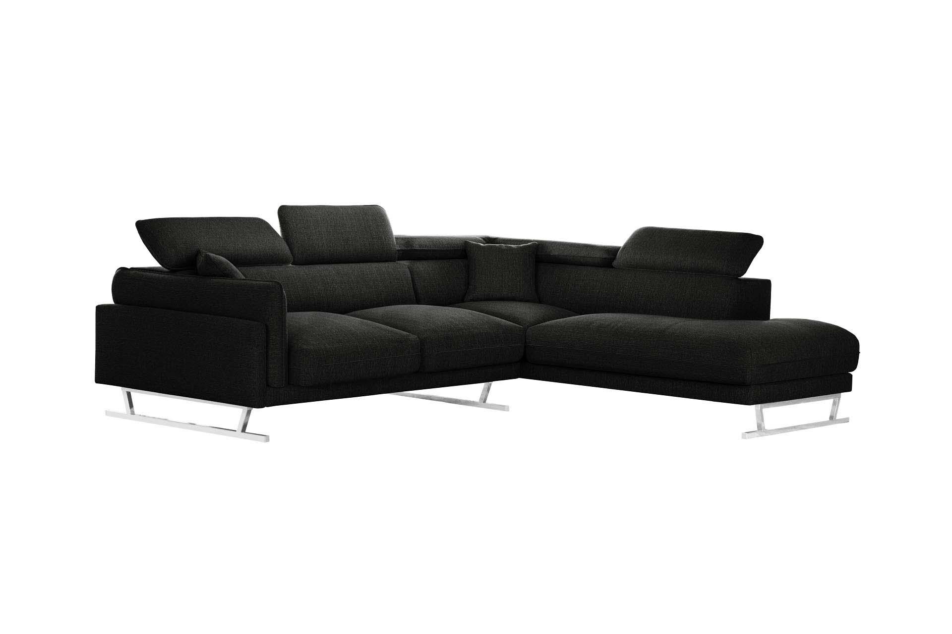 Canapé d'angle 6 places Noir Tissu Luxe Design Confort