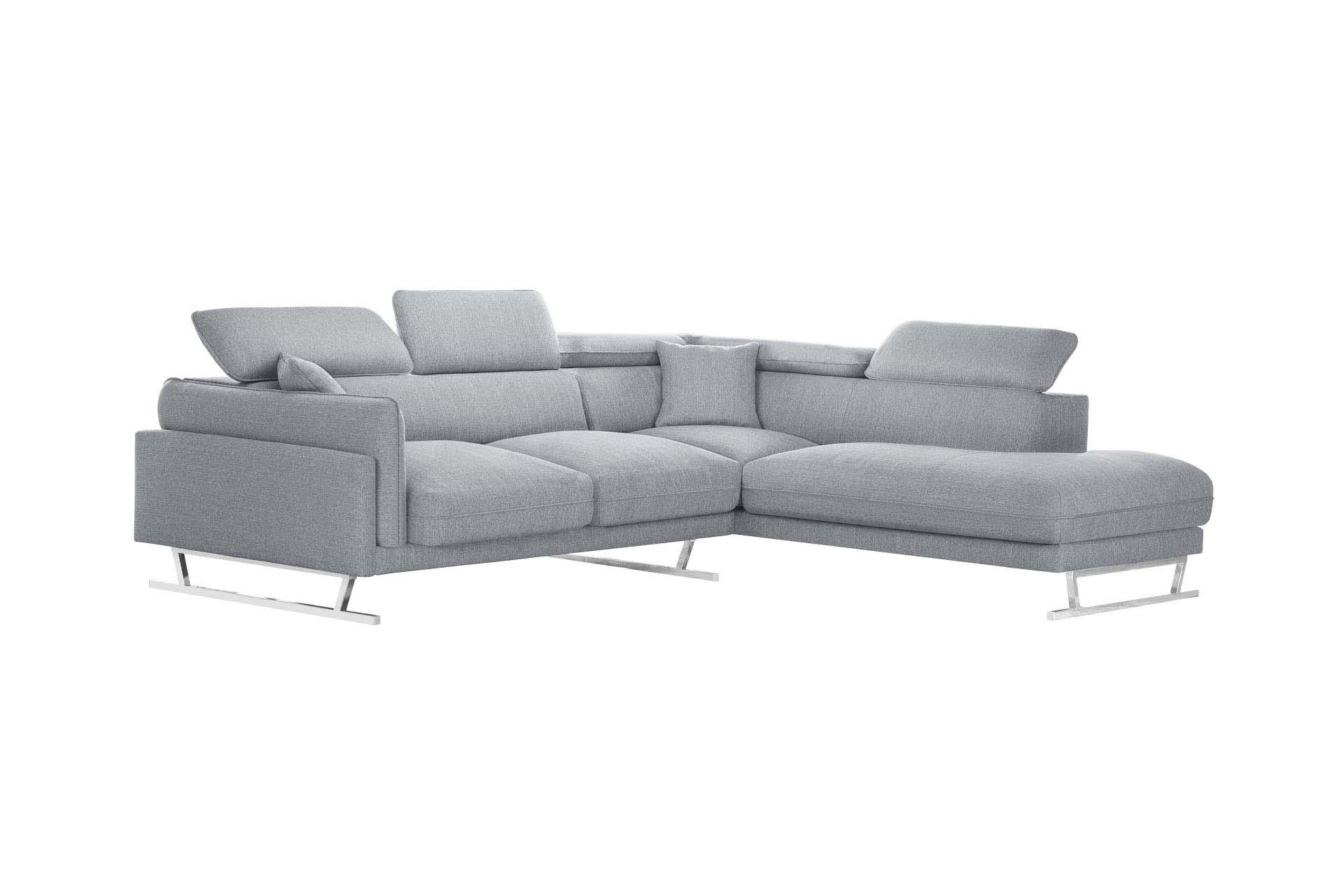 Canapé d'angle 6 places Gris Tissu Luxe Design Confort