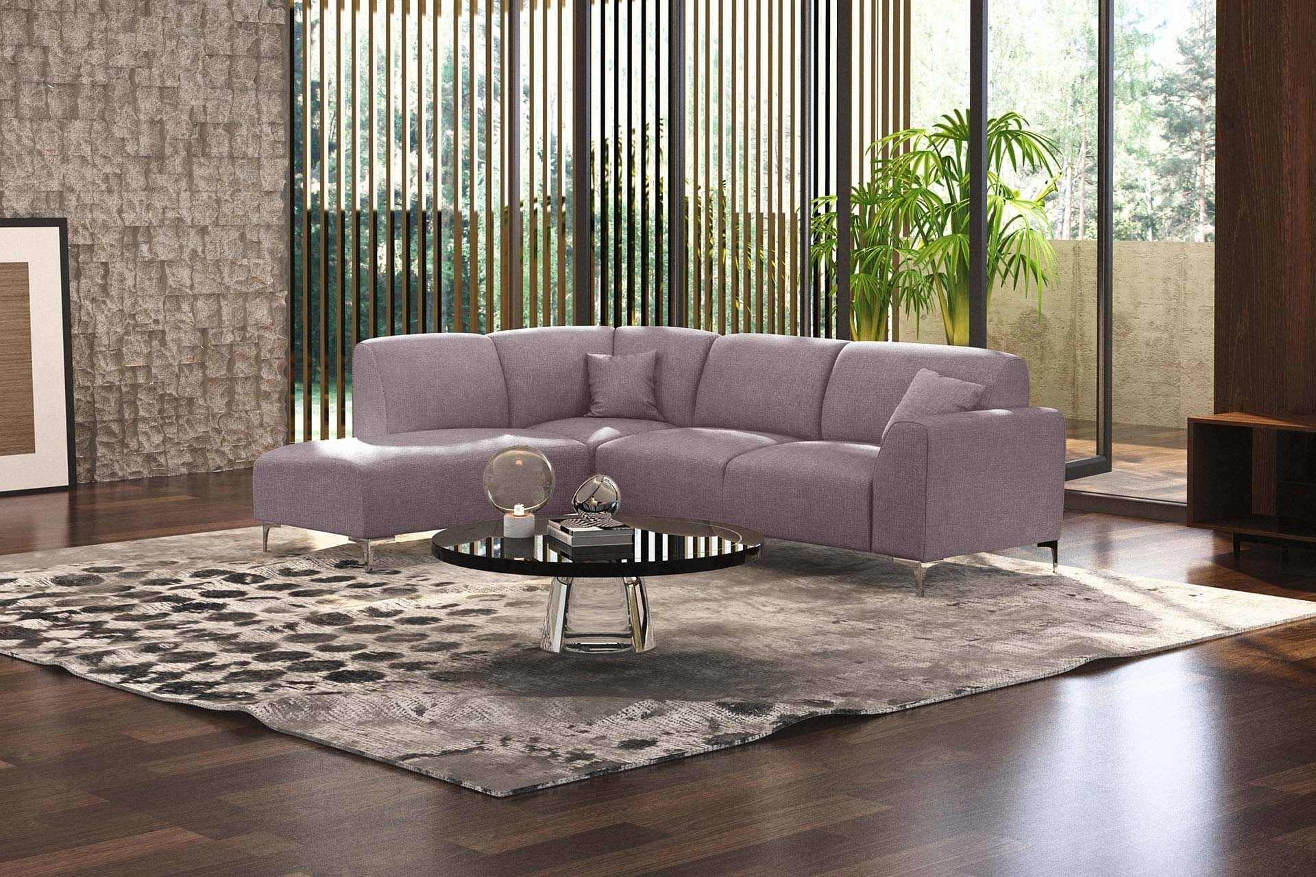 Canapé d'angle gauche 5 places toucher lin rose poudré