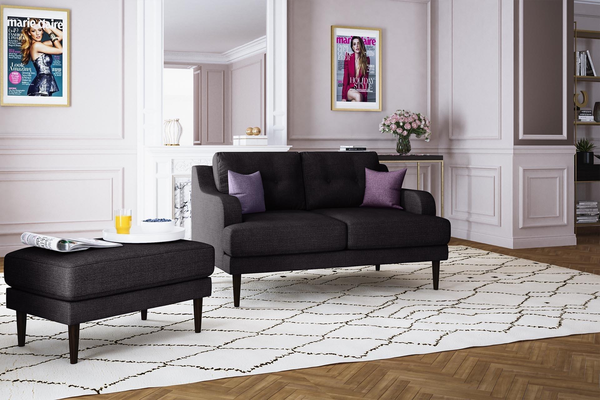 Canapé 2 places toucher lin anthracite