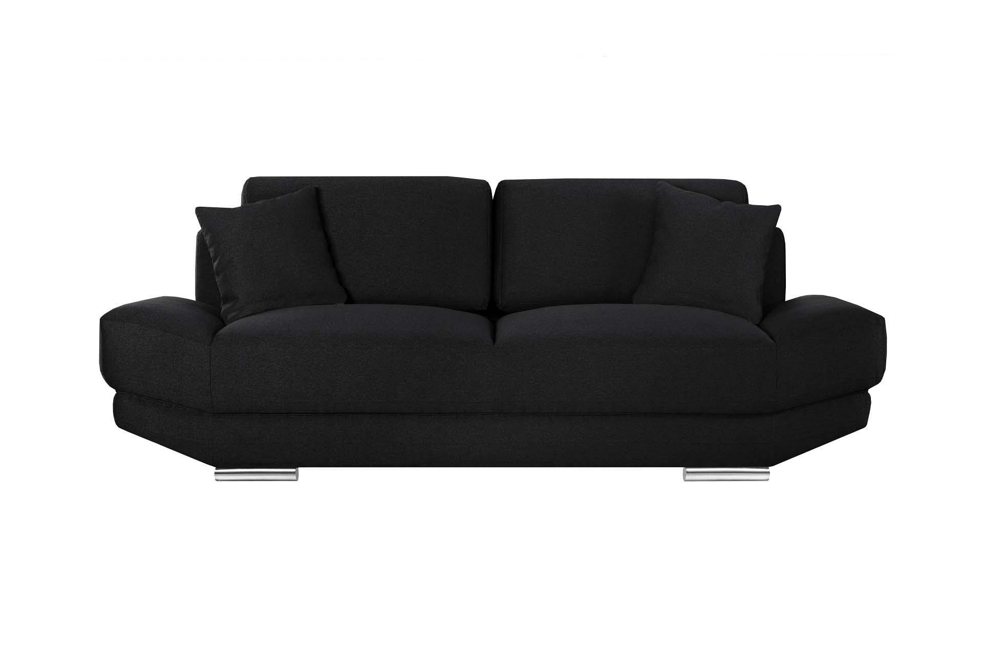 Canapé 3 places toucher lin noir