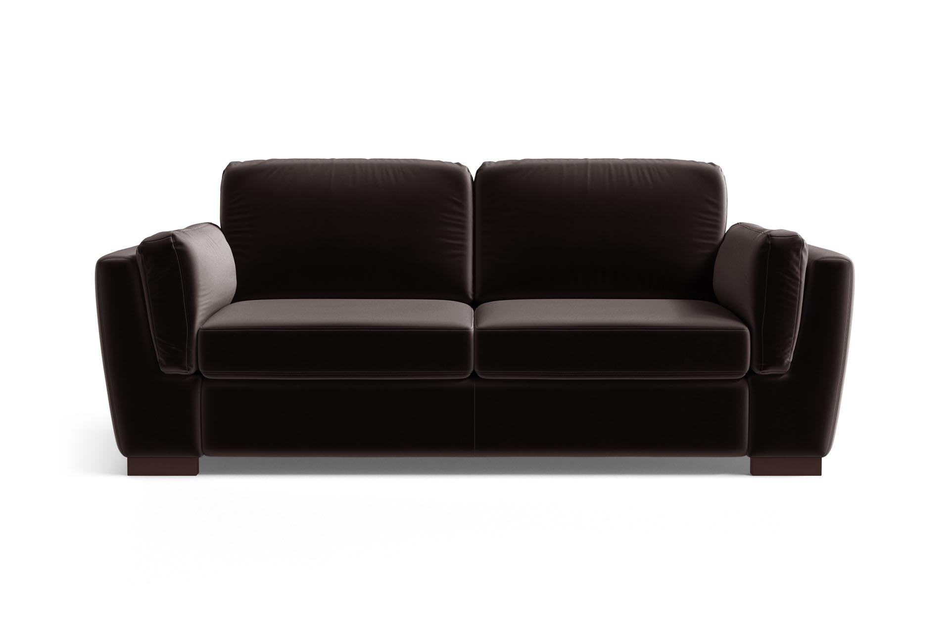 Canapé 2 places en velours marron