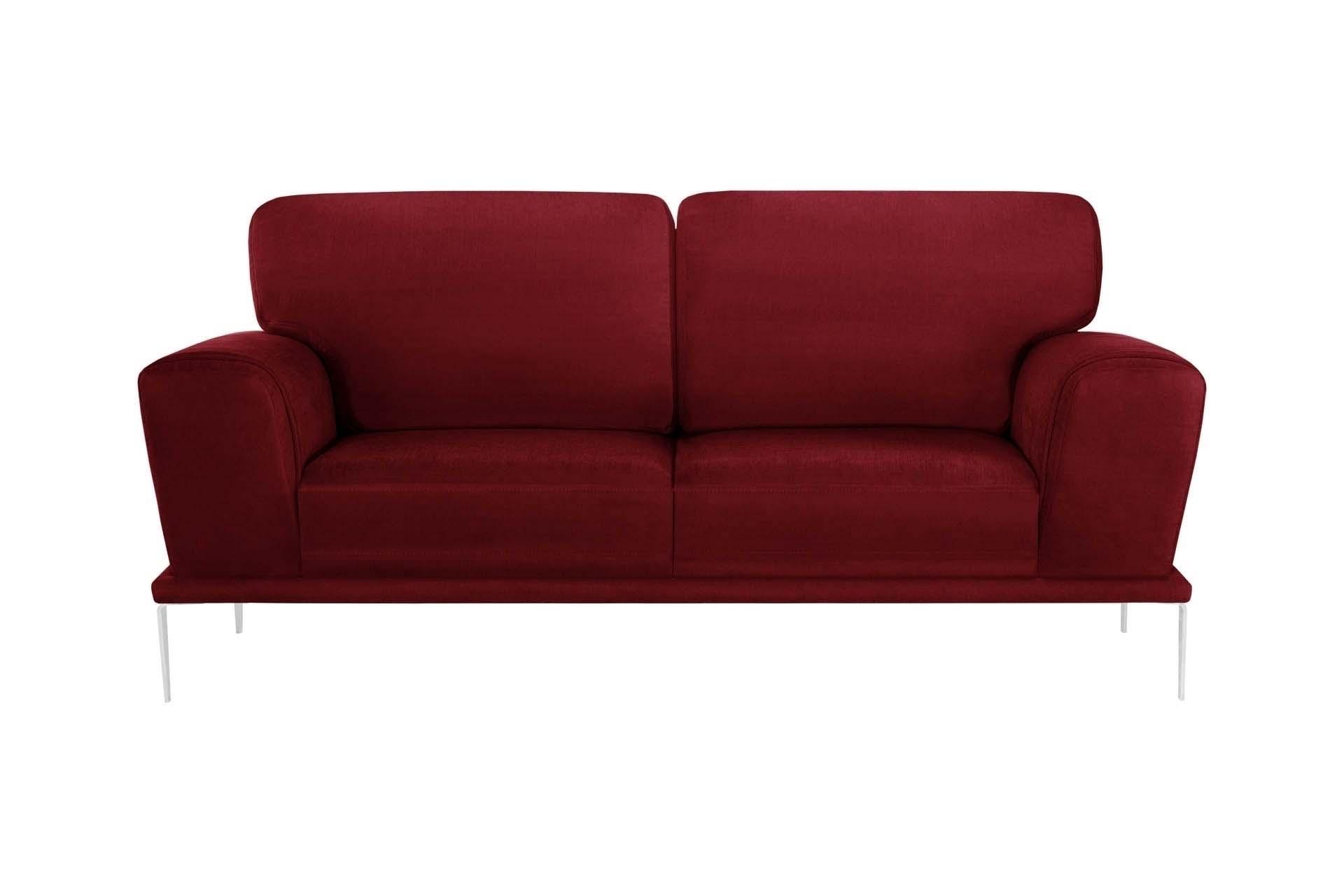 Canapé 2 places toucher coton rouge glamour