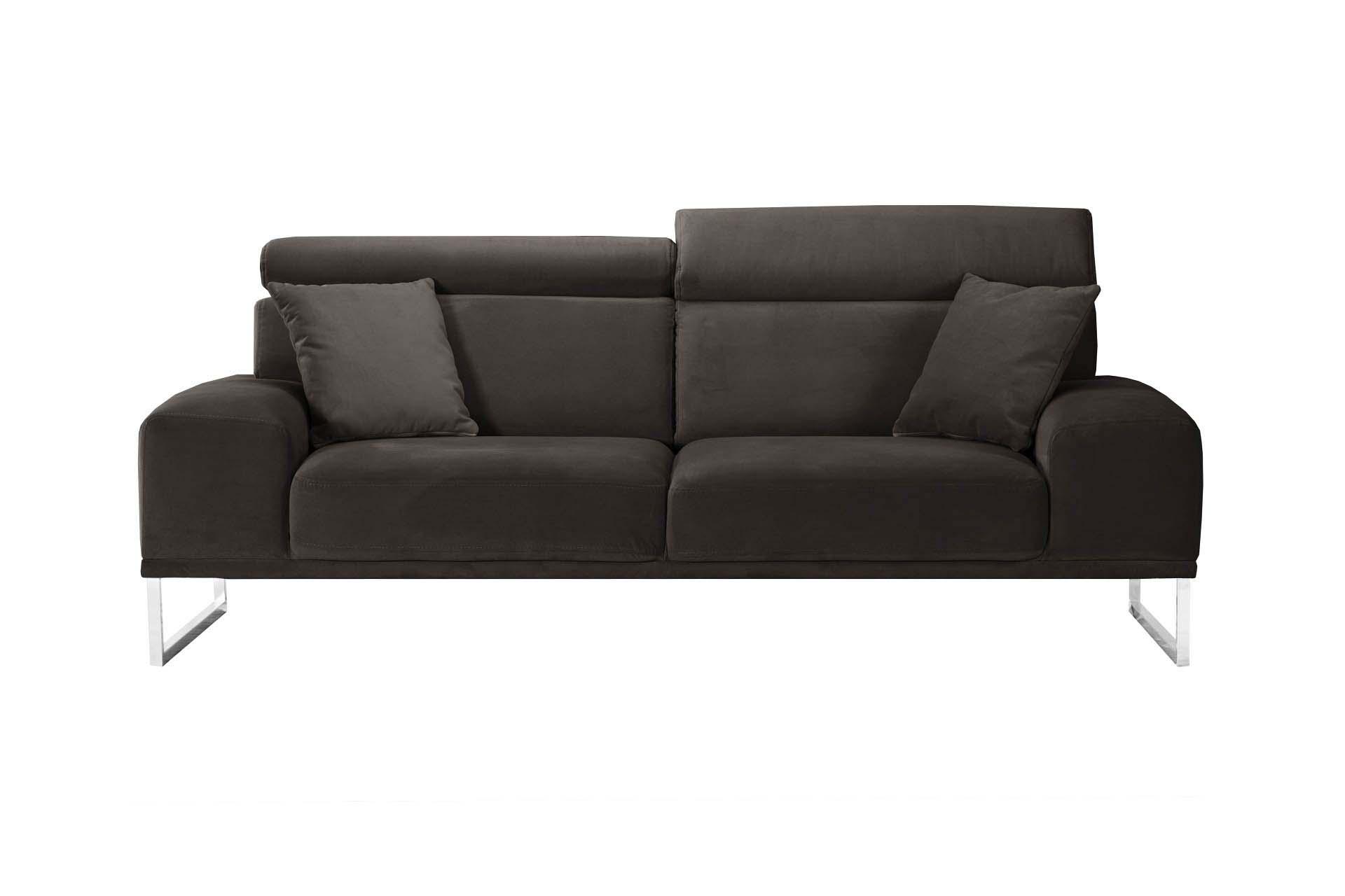 Canapé 3 places en velours marron cendré
