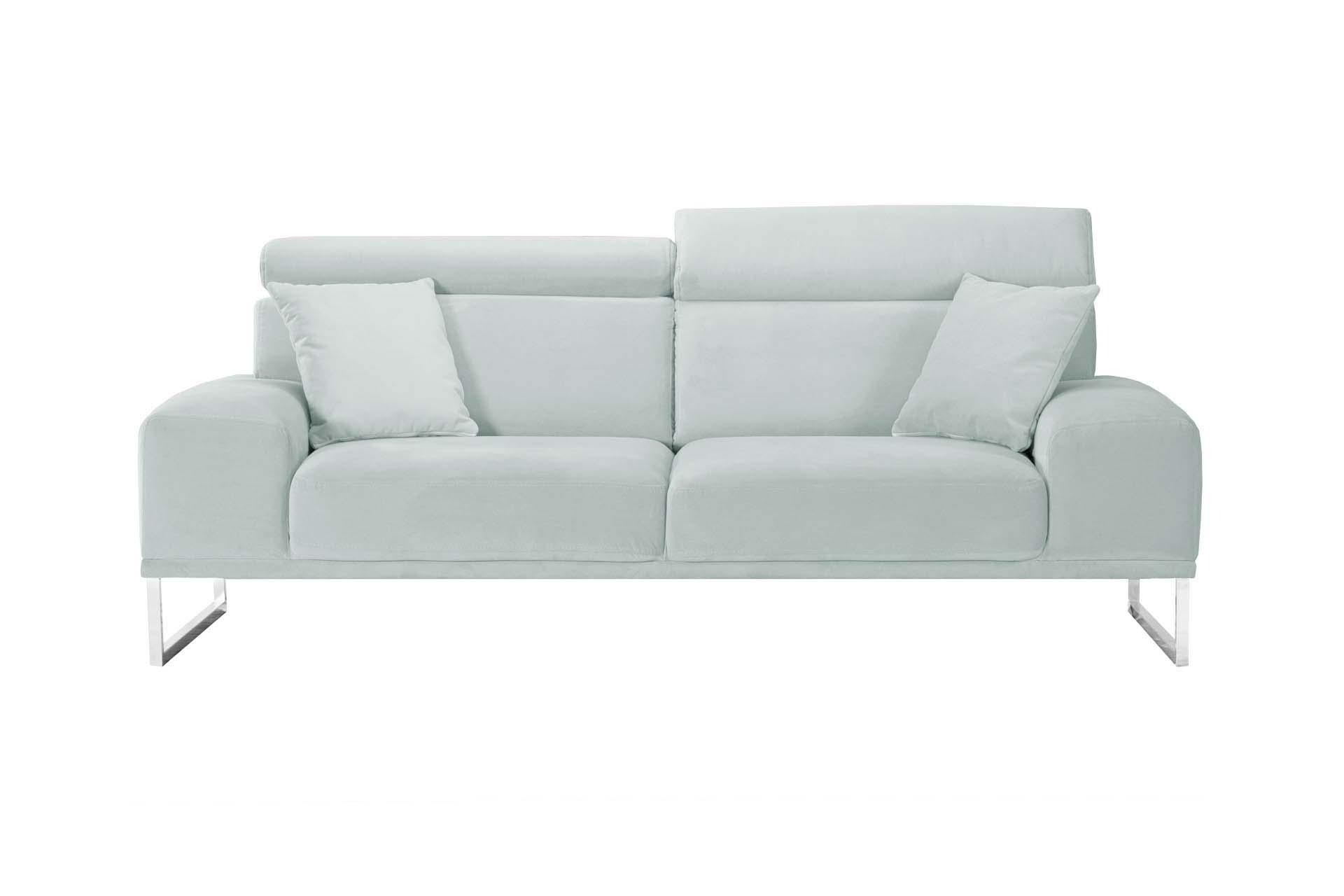 Canapé 3 places en velours gris pastel