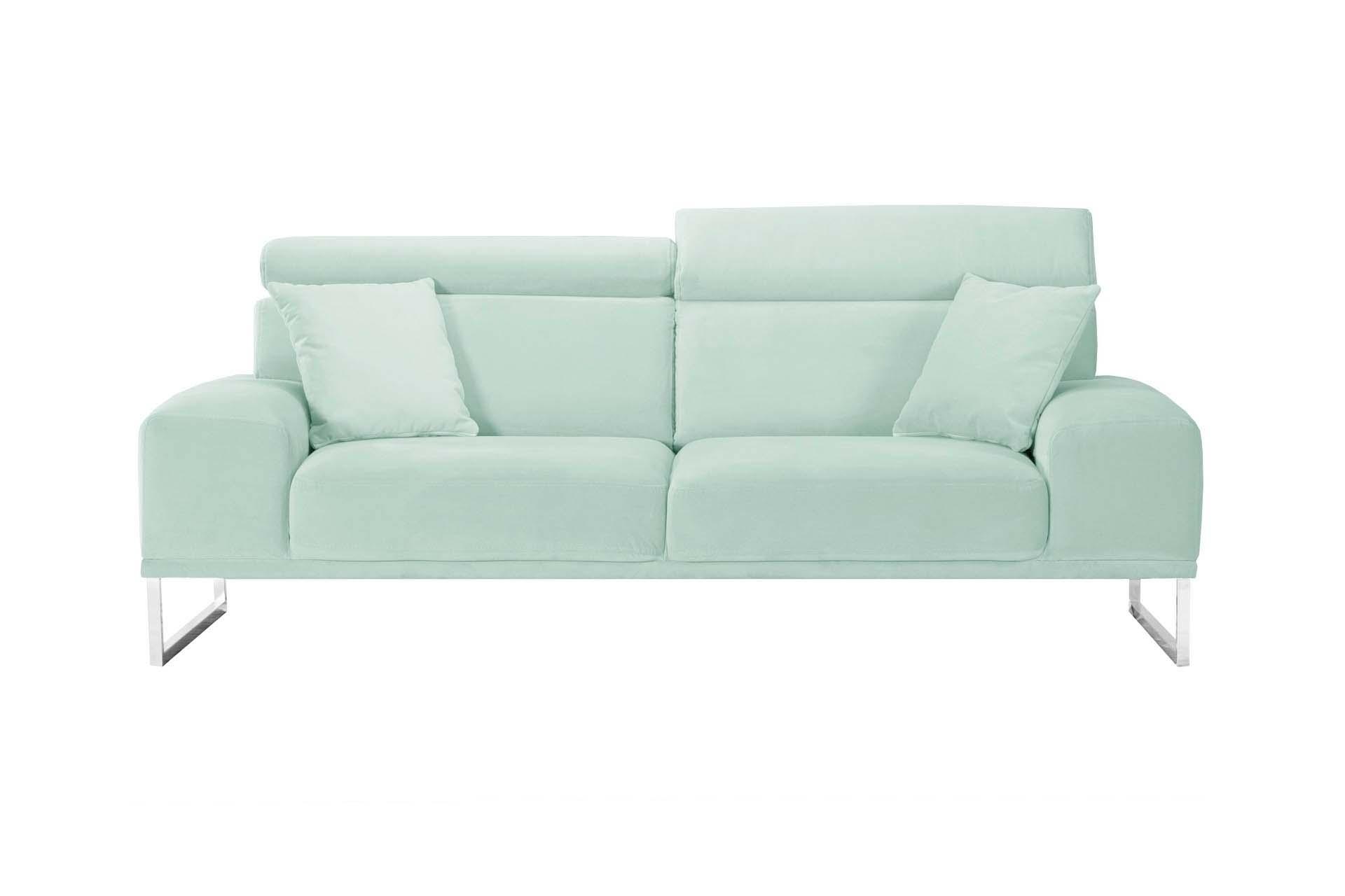 Canapé 3 places en velours menthe pastel