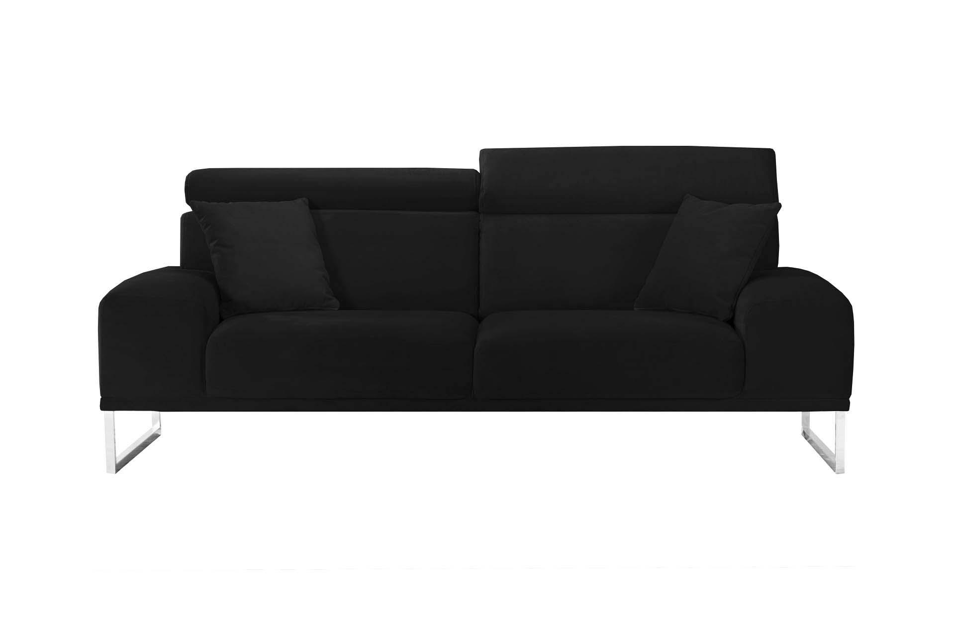 Canapé 3 places en velours noir
