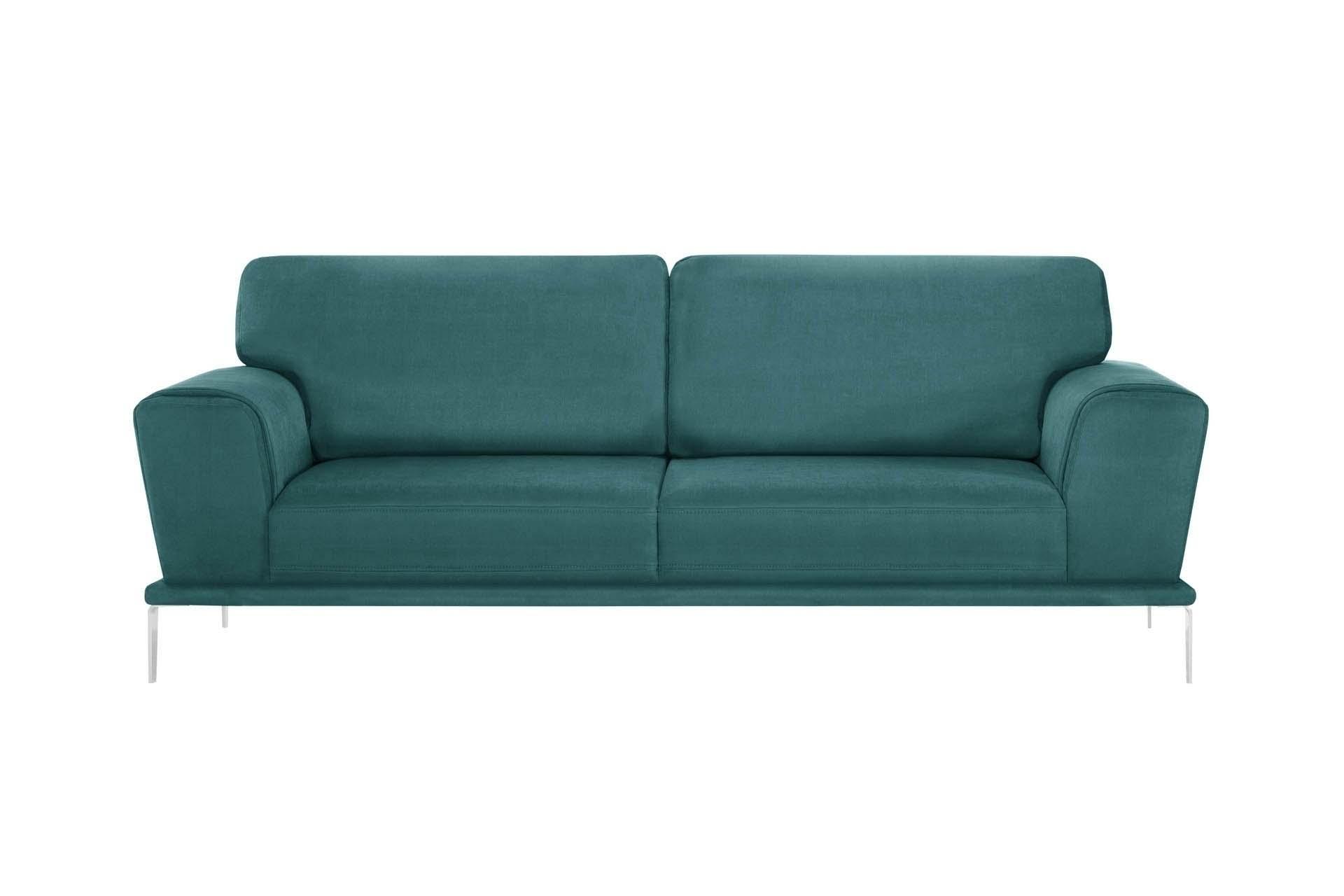 Canapé 3 places toucher coton turquoise