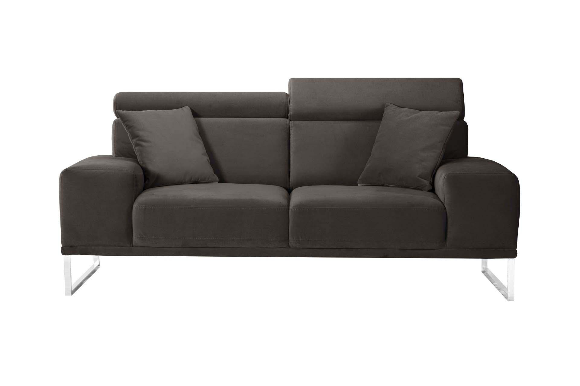 Canapé 2 places en velours marron cendré