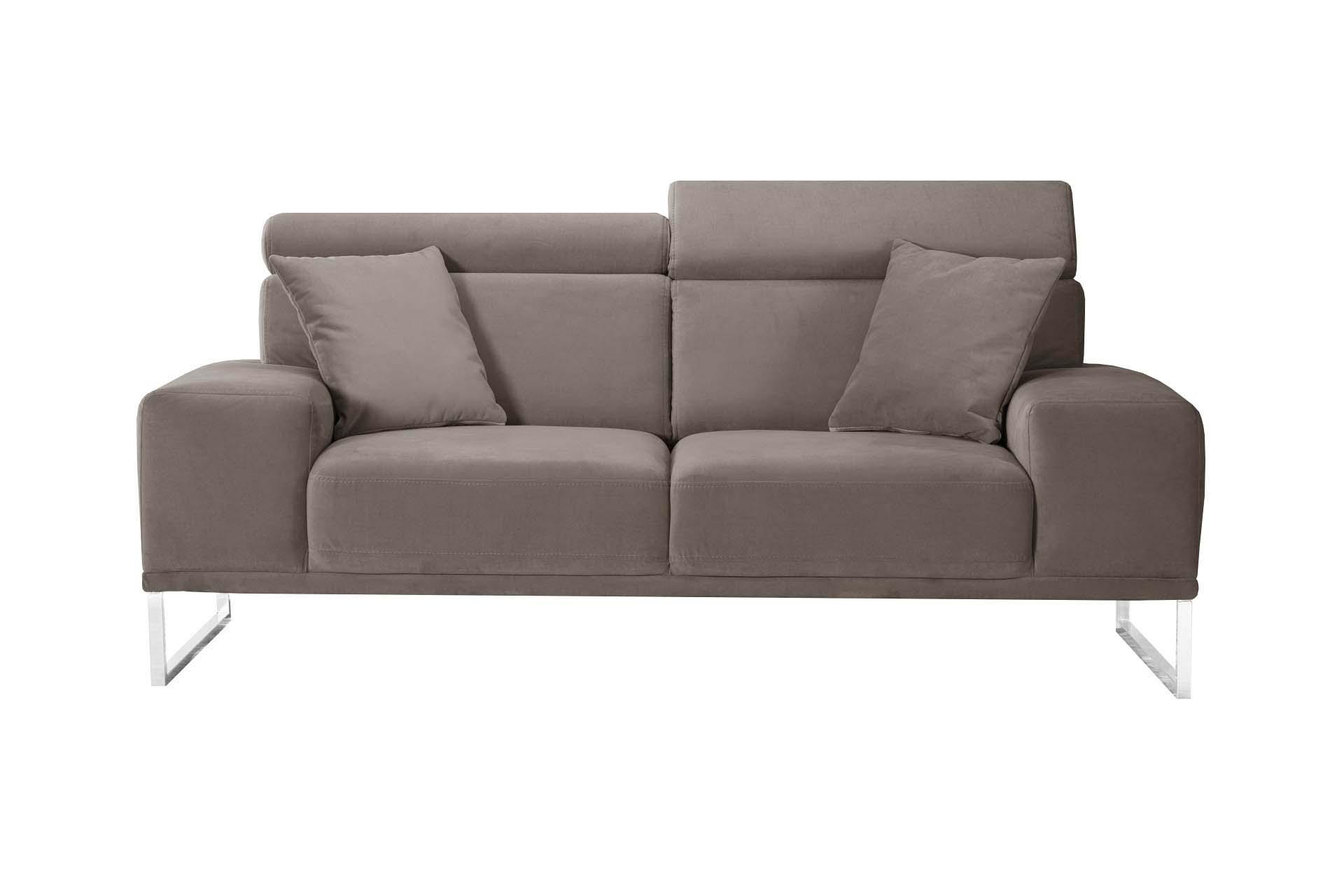 Canapé 2 places en velours taupe