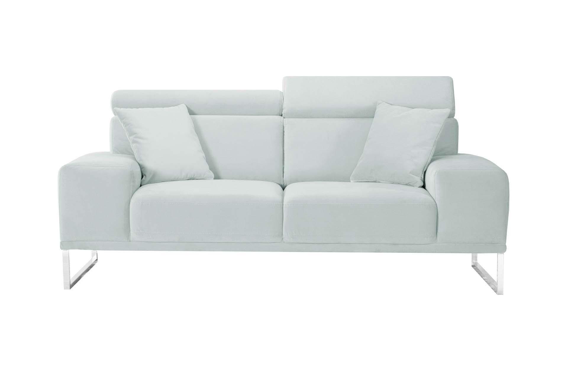 Canapé 2 places en velours gris pastel