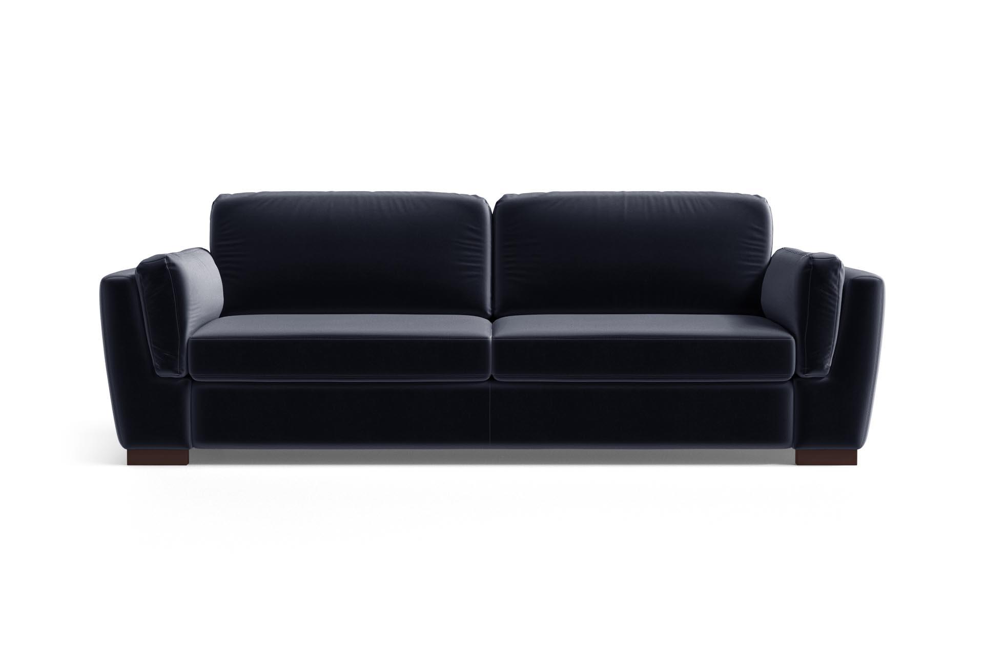 Canapé droit 3 places Bleu Velours Design