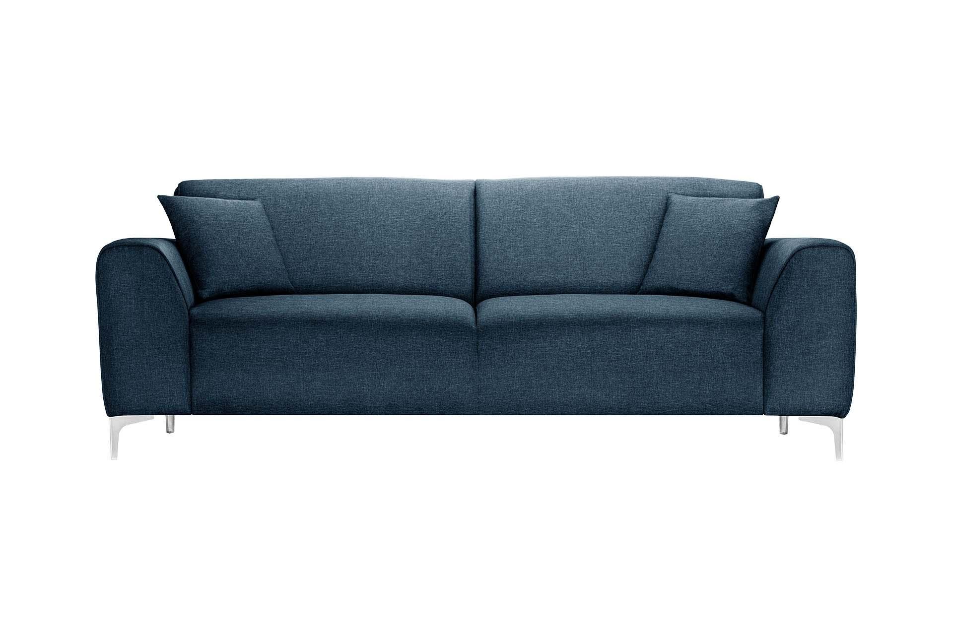 Canapé 3 places toucher lin bleu jeans