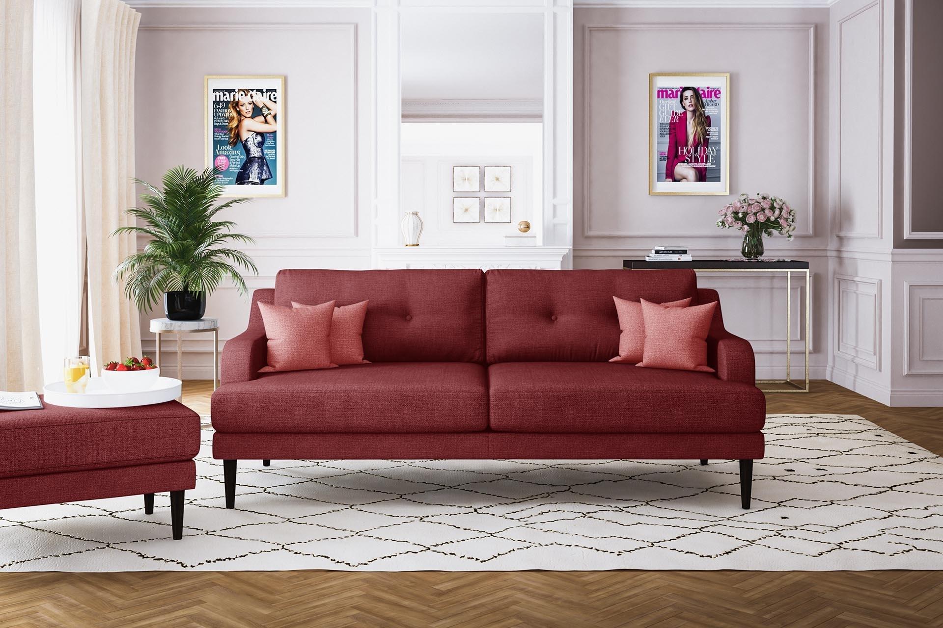 Canapé 3 places toucher lin rouge