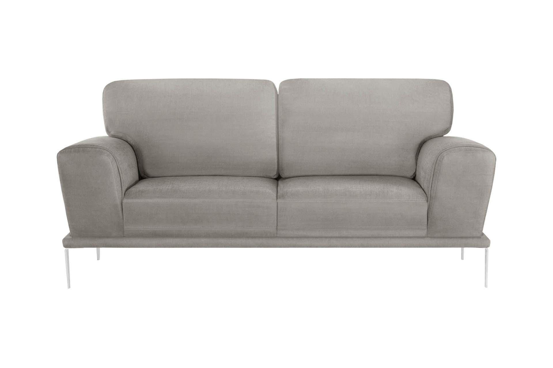 Canapé 2 places toucher coton gris clair