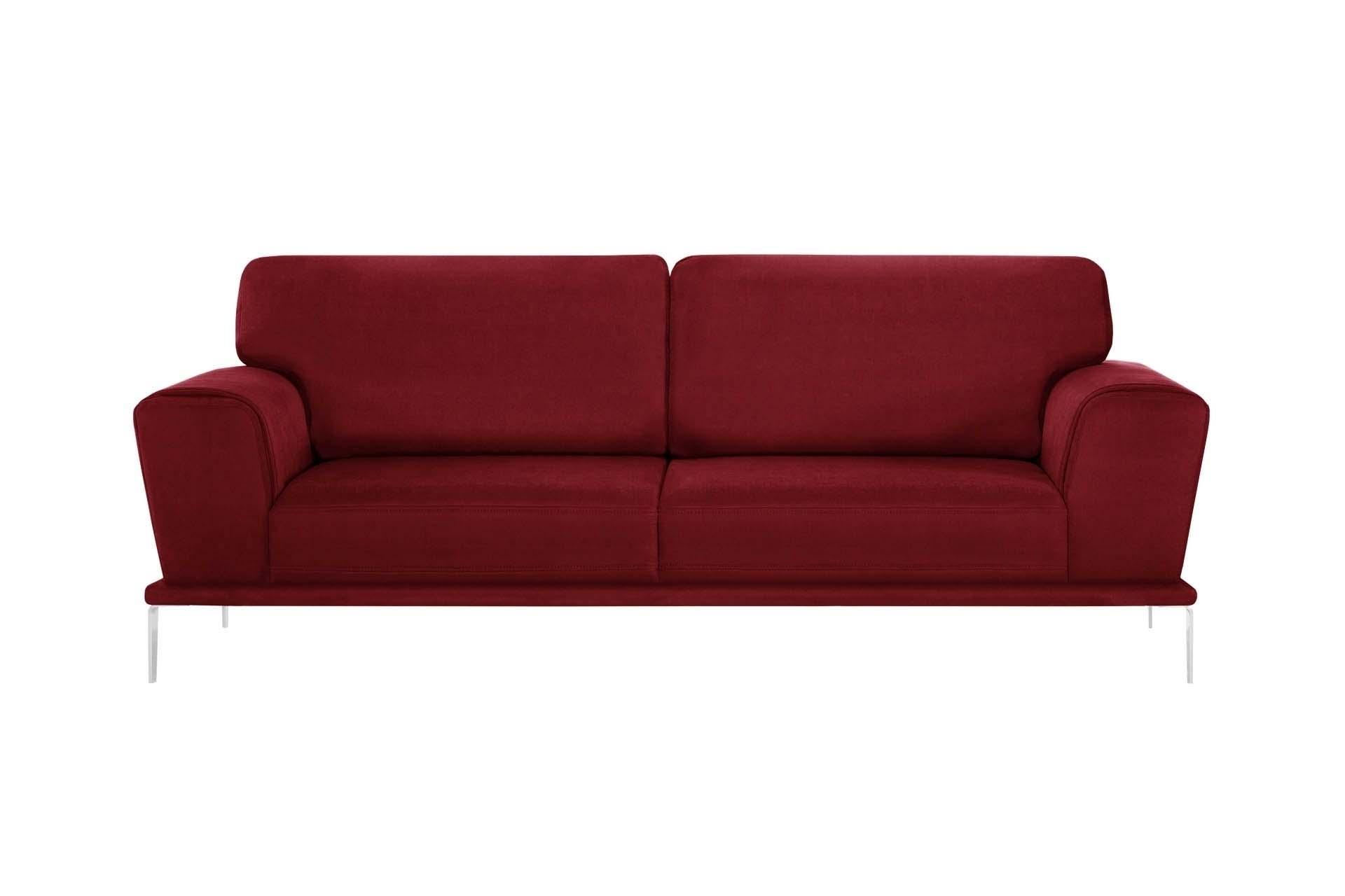 Canapé 3 places toucher coton rouge glamour