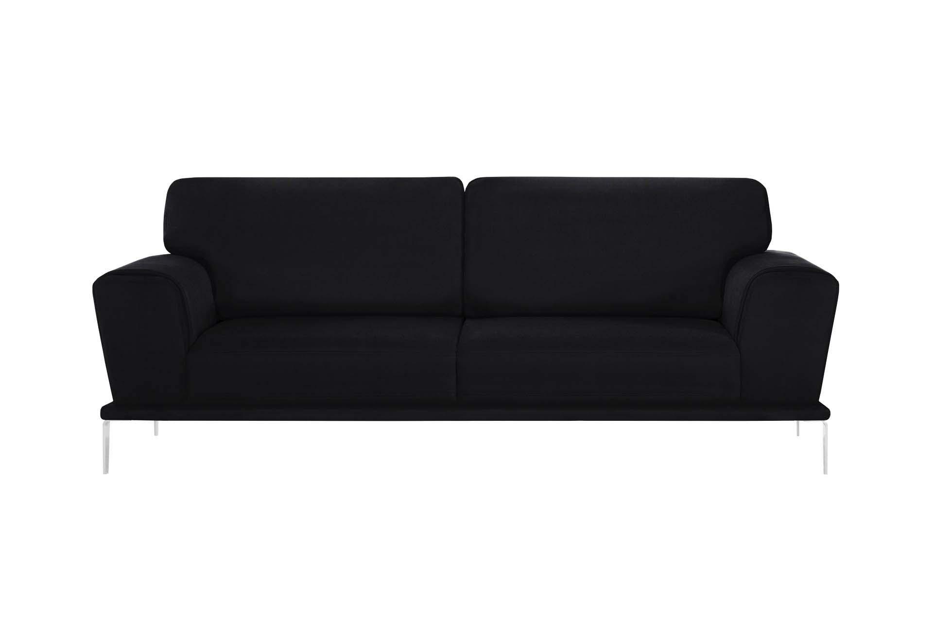 Canapé 3 places toucher coton noir