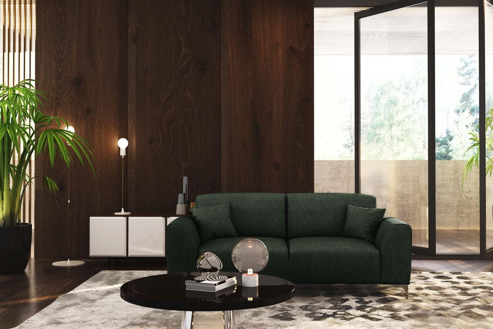 Canapé 3 places toucher lin vert